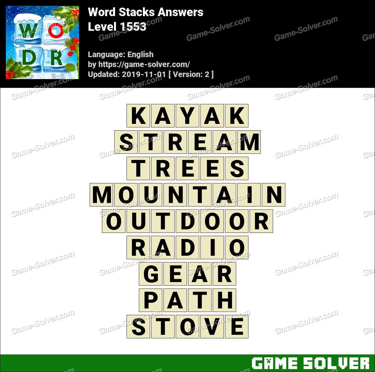 Word Stacks Level 1553 Answers
