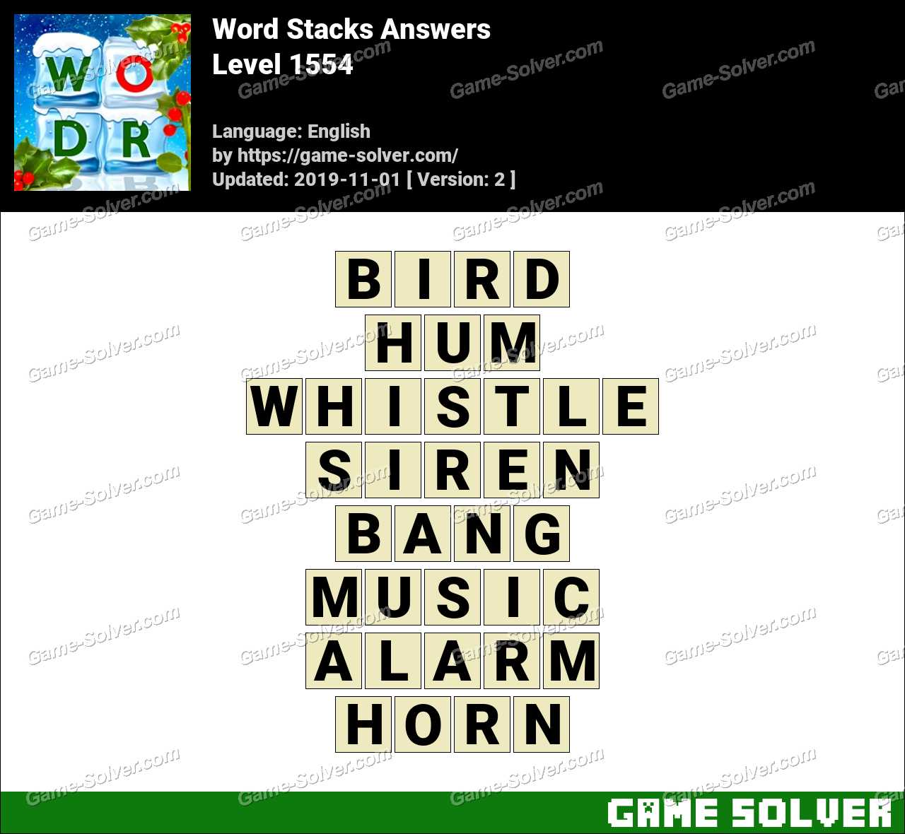 Word Stacks Level 1554 Answers