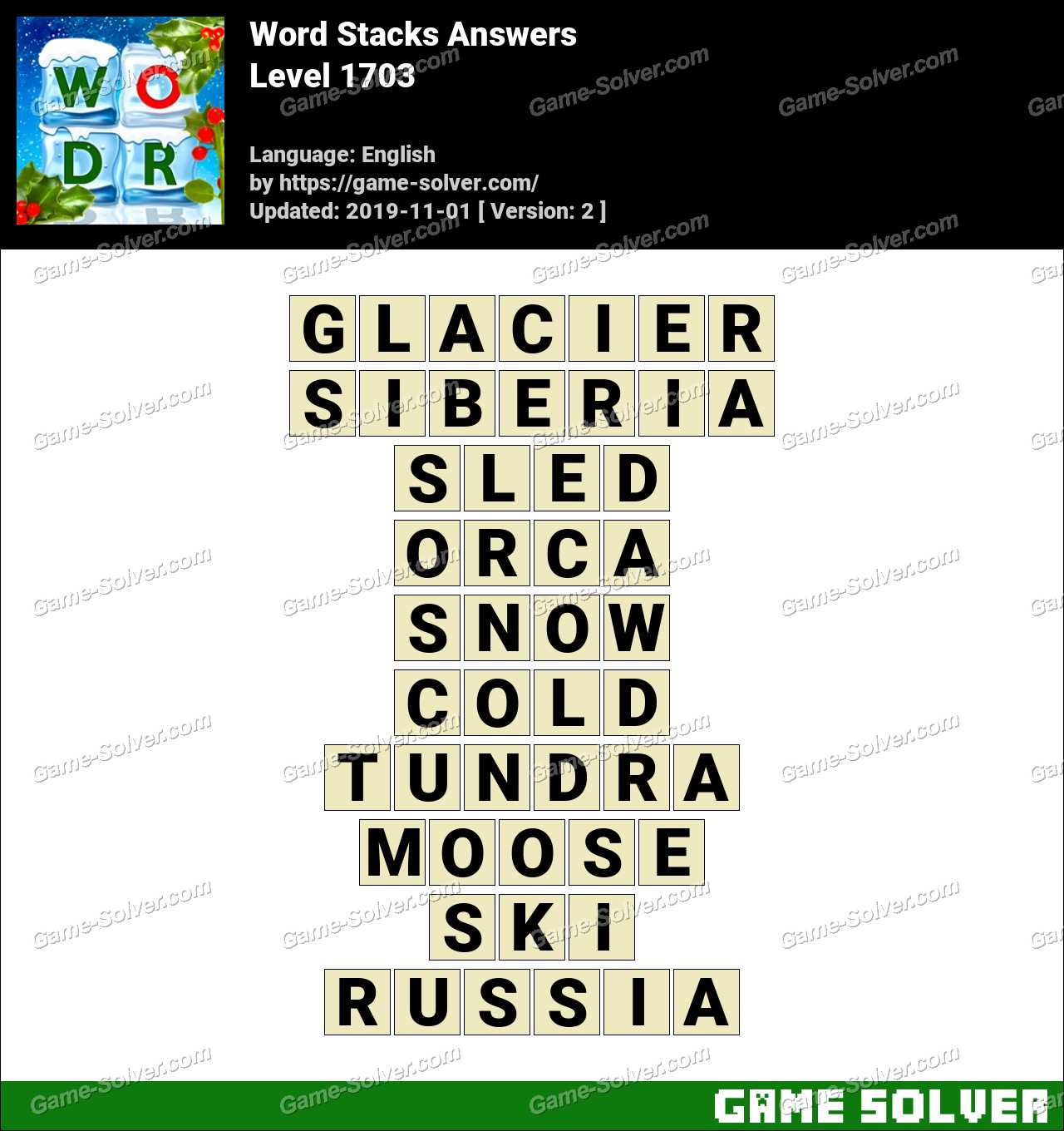 Word Stacks Level 1703 Answers