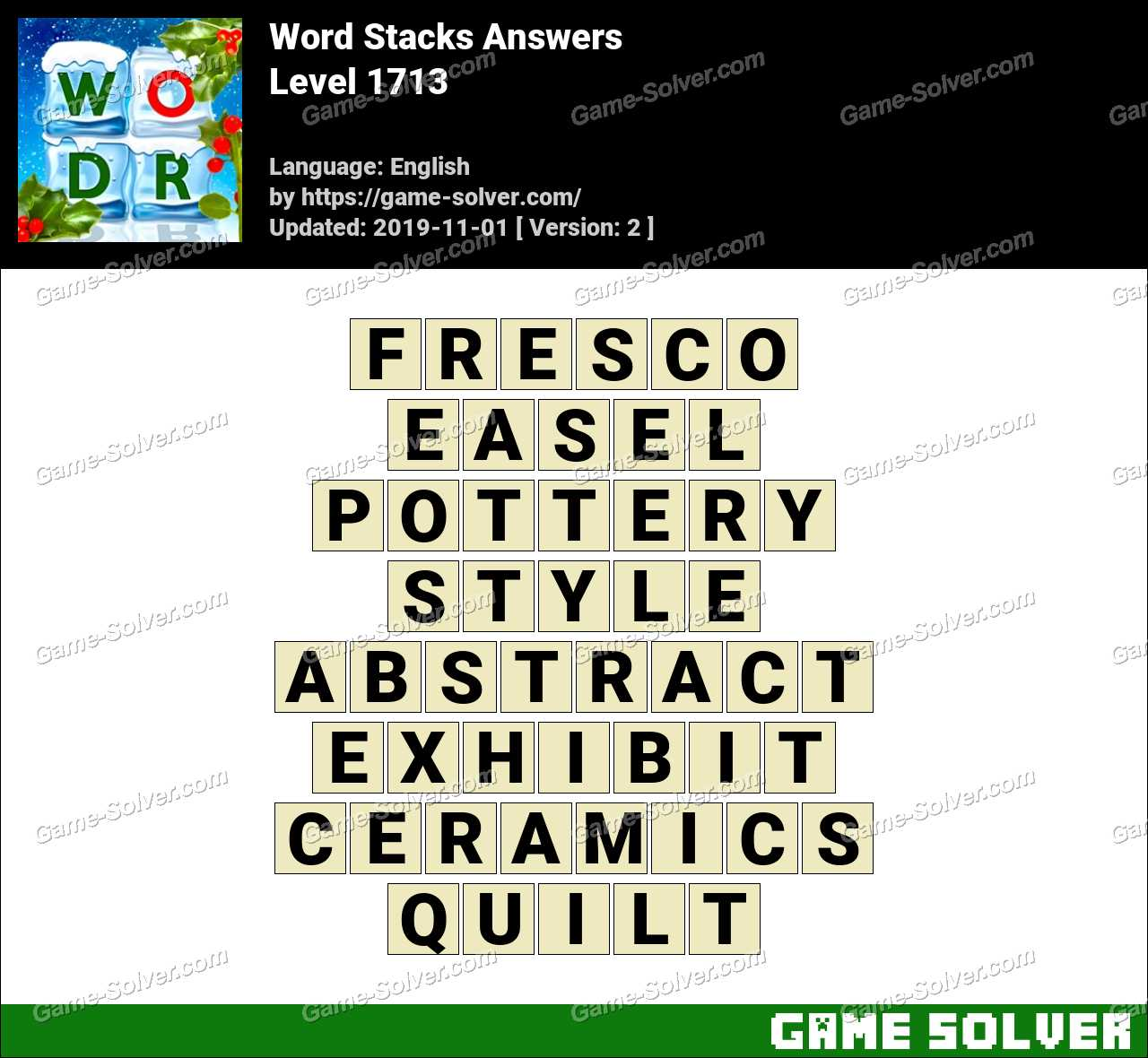 Word Stacks Level 1713 Answers