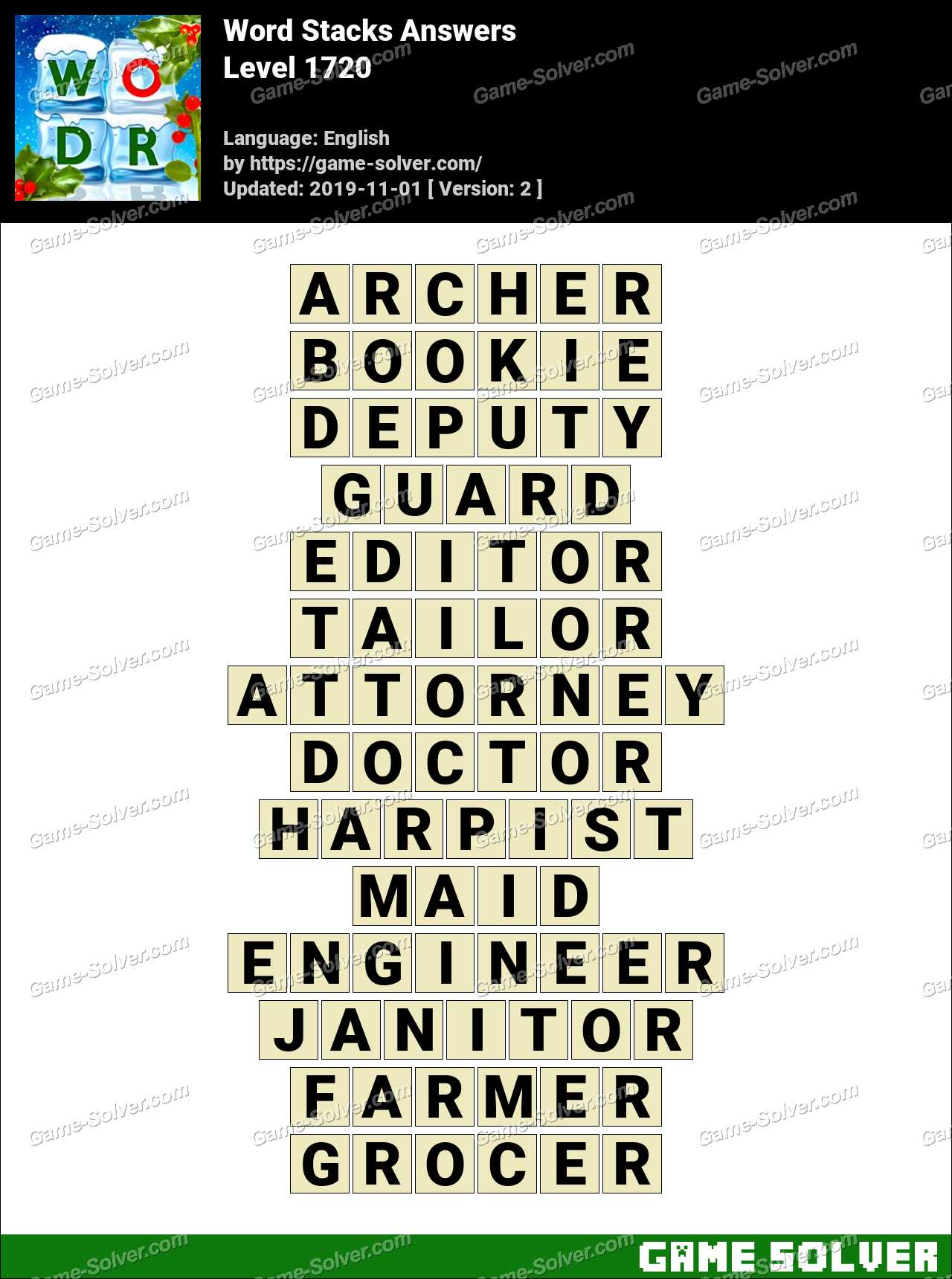 Word Stacks Level 1720 Answers