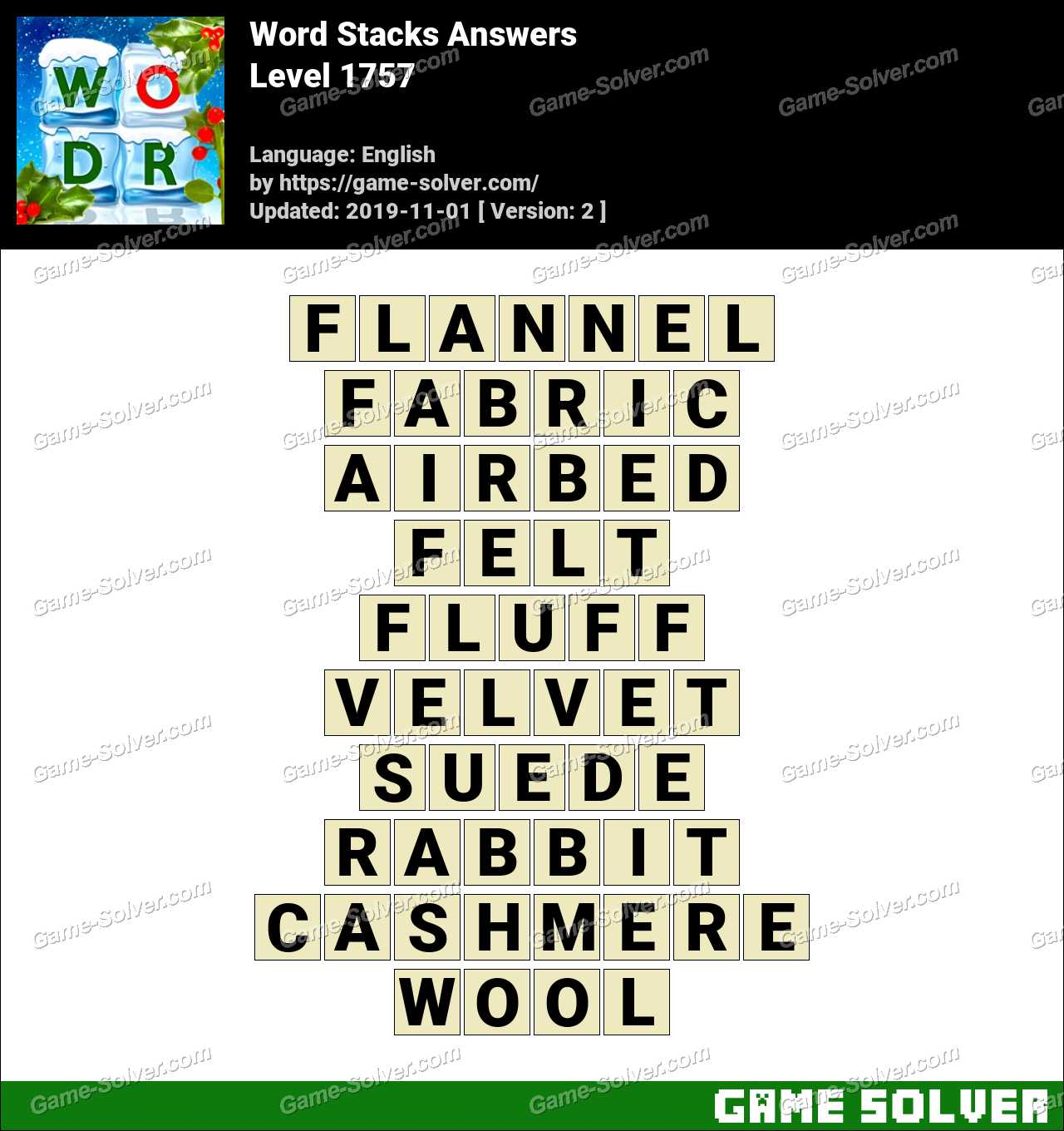 Word Stacks Level 1757 Answers