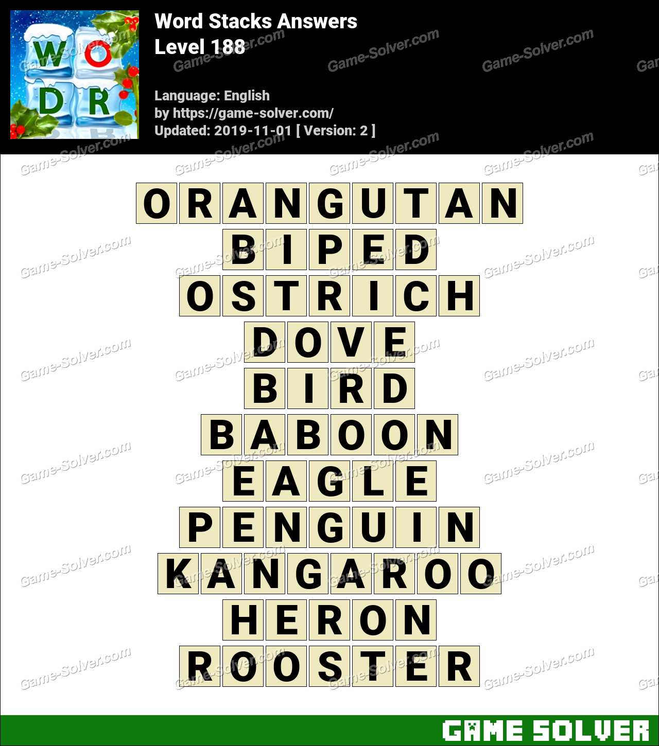 Word Stacks Level 188 Answers