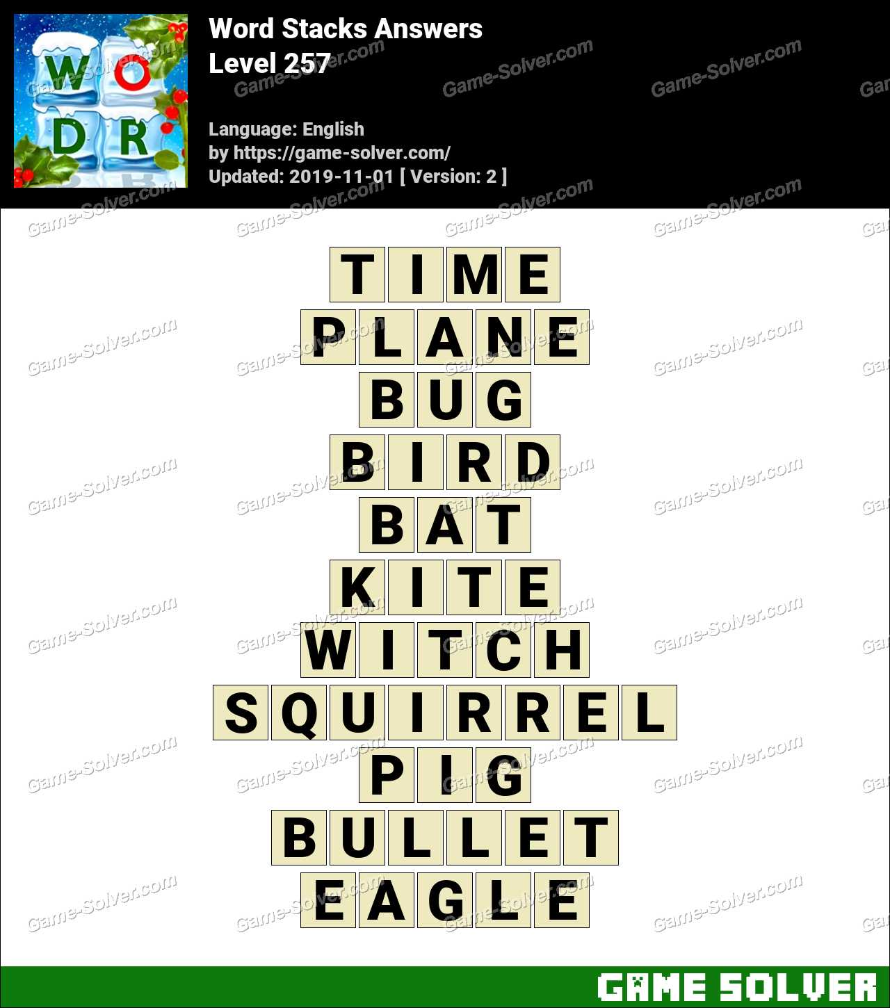 Word Stacks Level 257 Answers