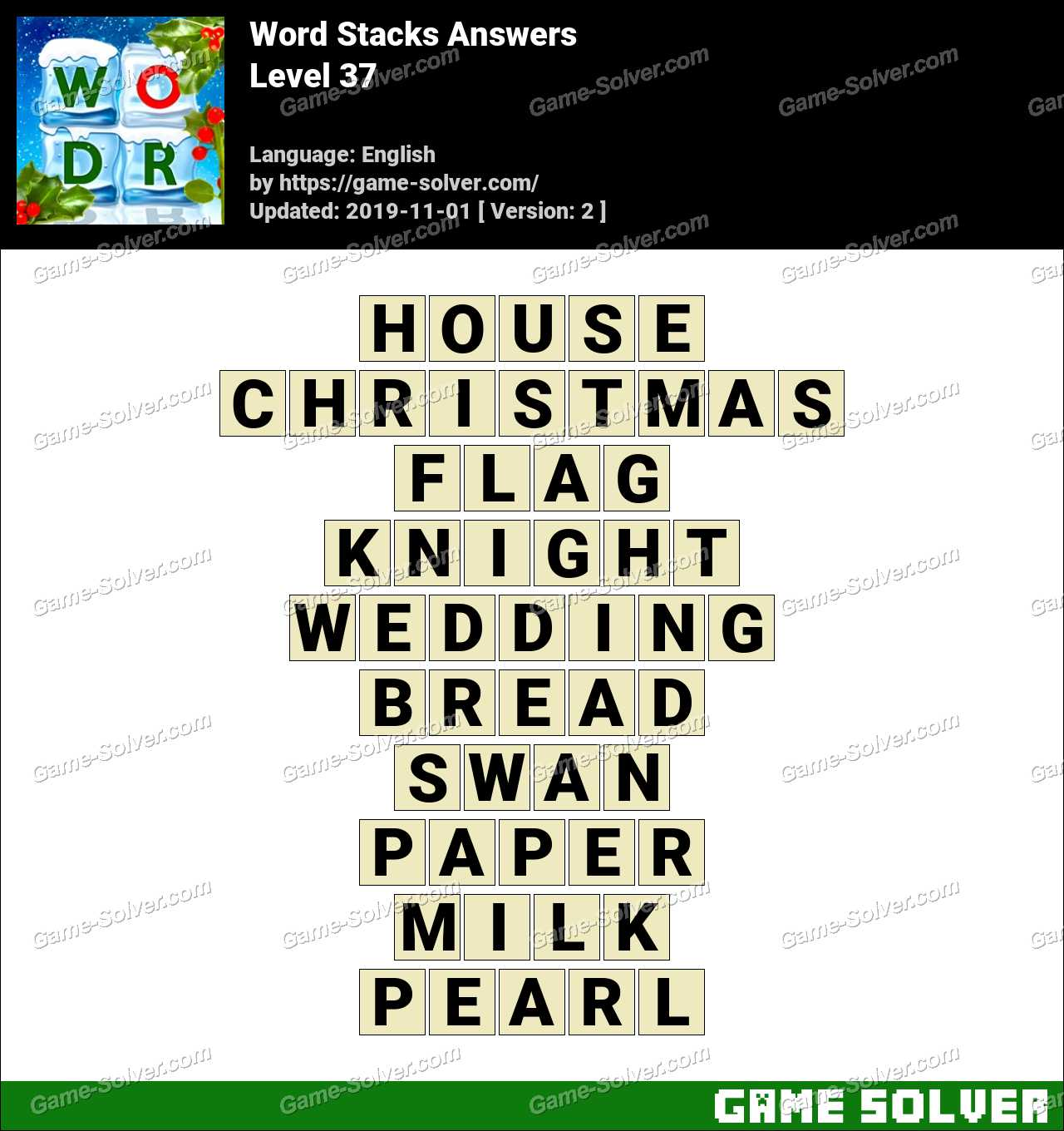 Word Stacks Level 37 Answers