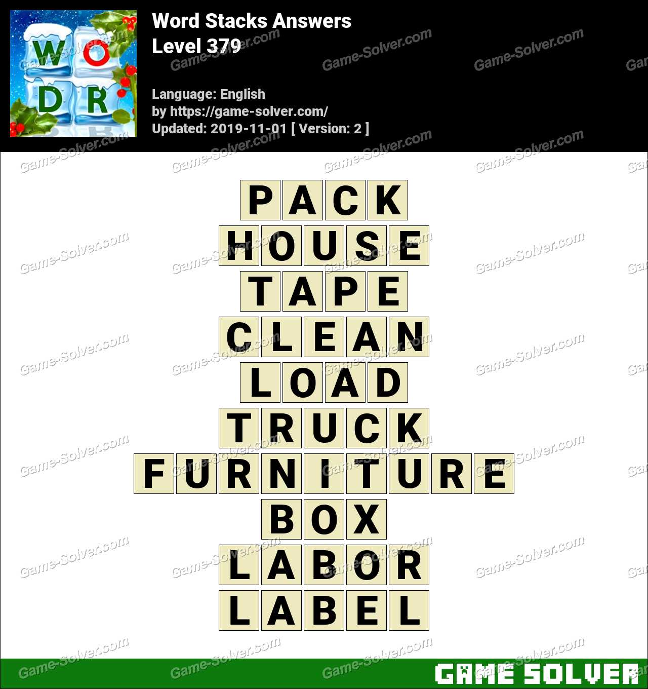Word Stacks Level 379 Answers