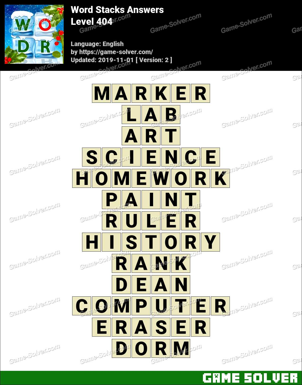 Word Stacks Level 404 Answers