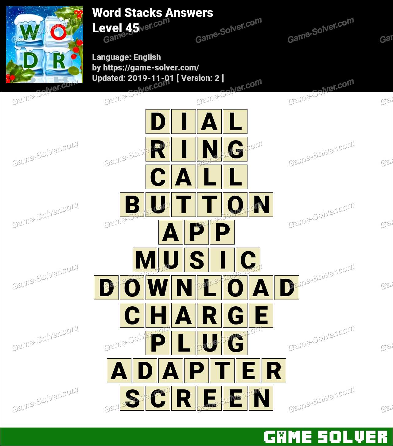 Word Stacks Level 45 Answers