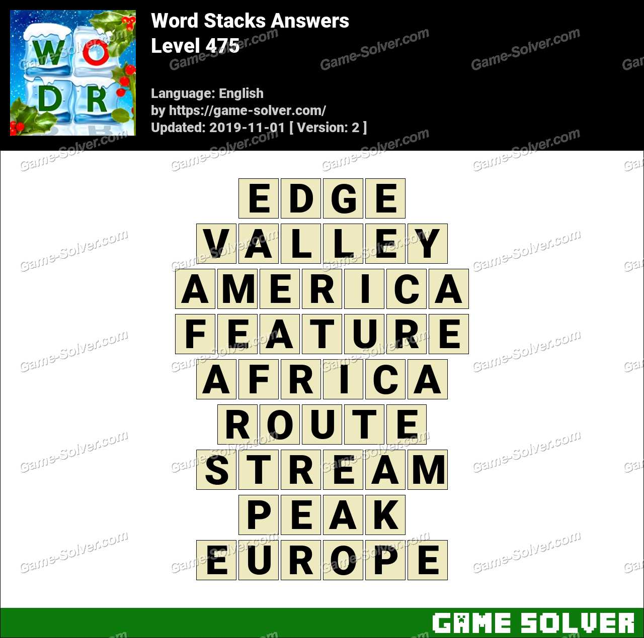 Word Stacks Level 475 Answers