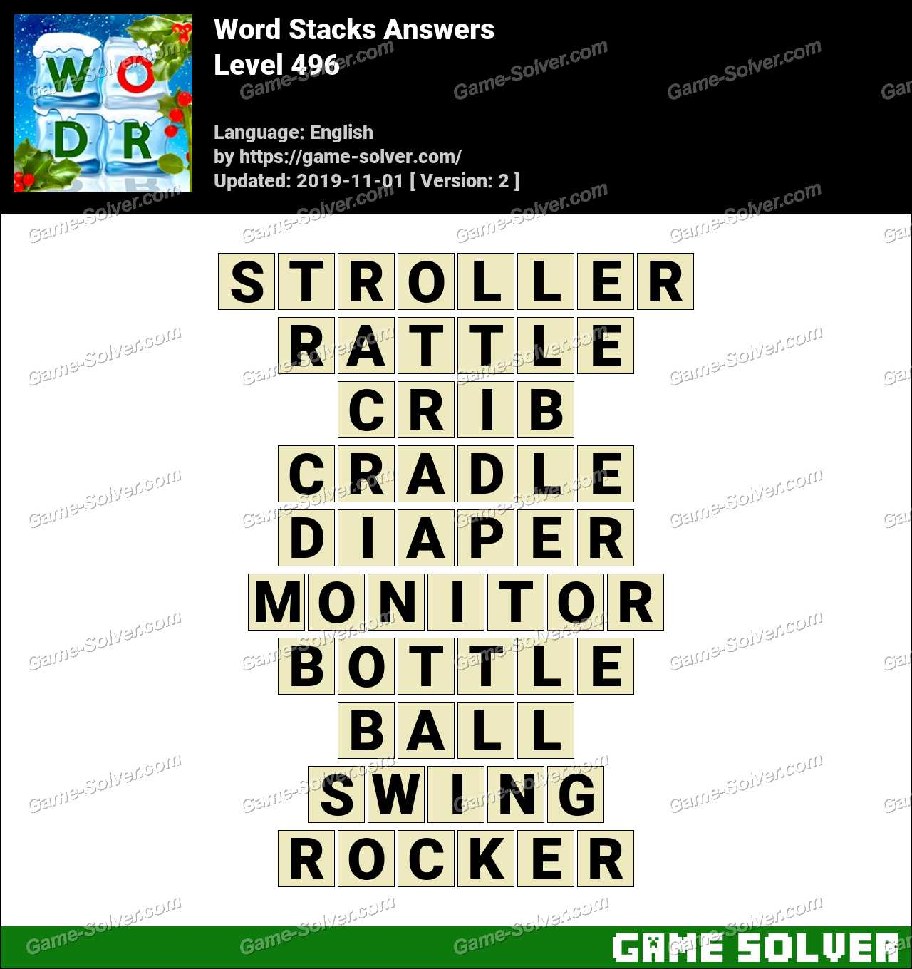 Word Stacks Level 496 Answers