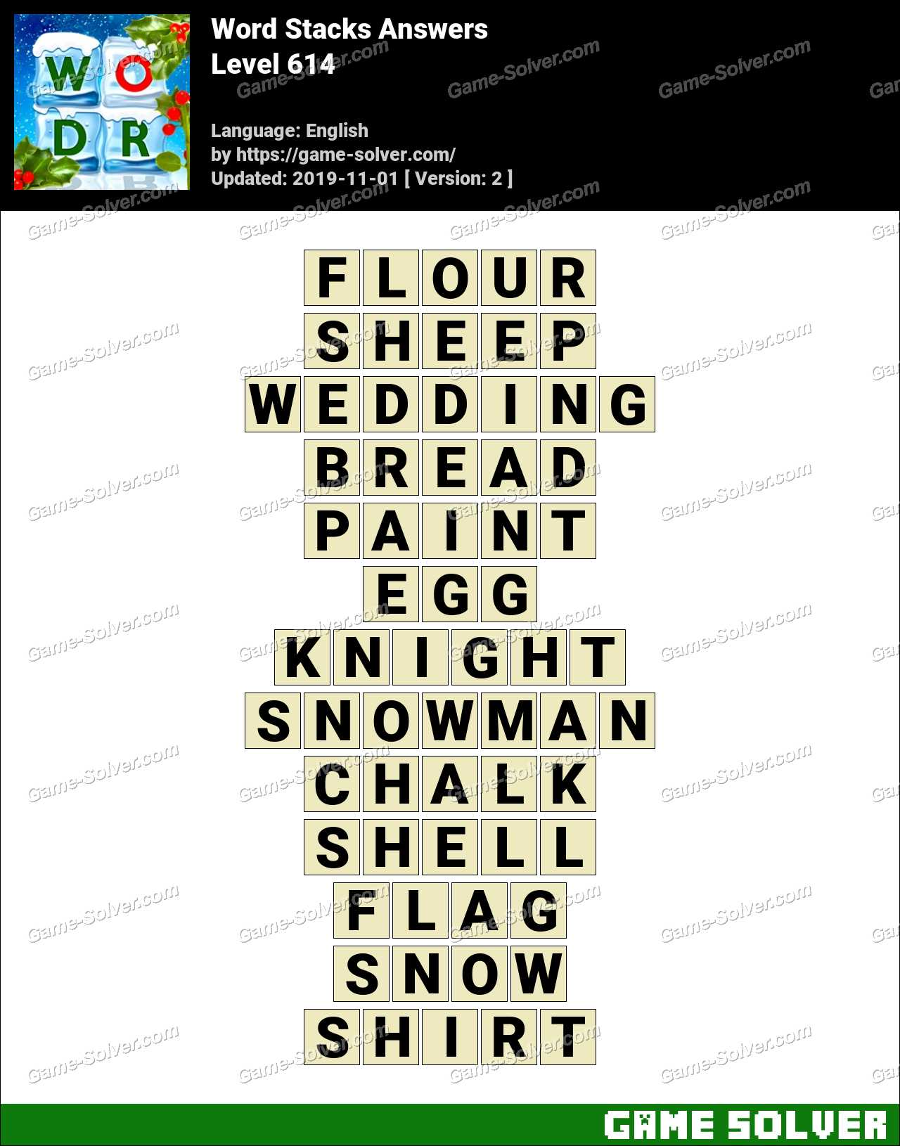 Word Stacks Level 614 Answers