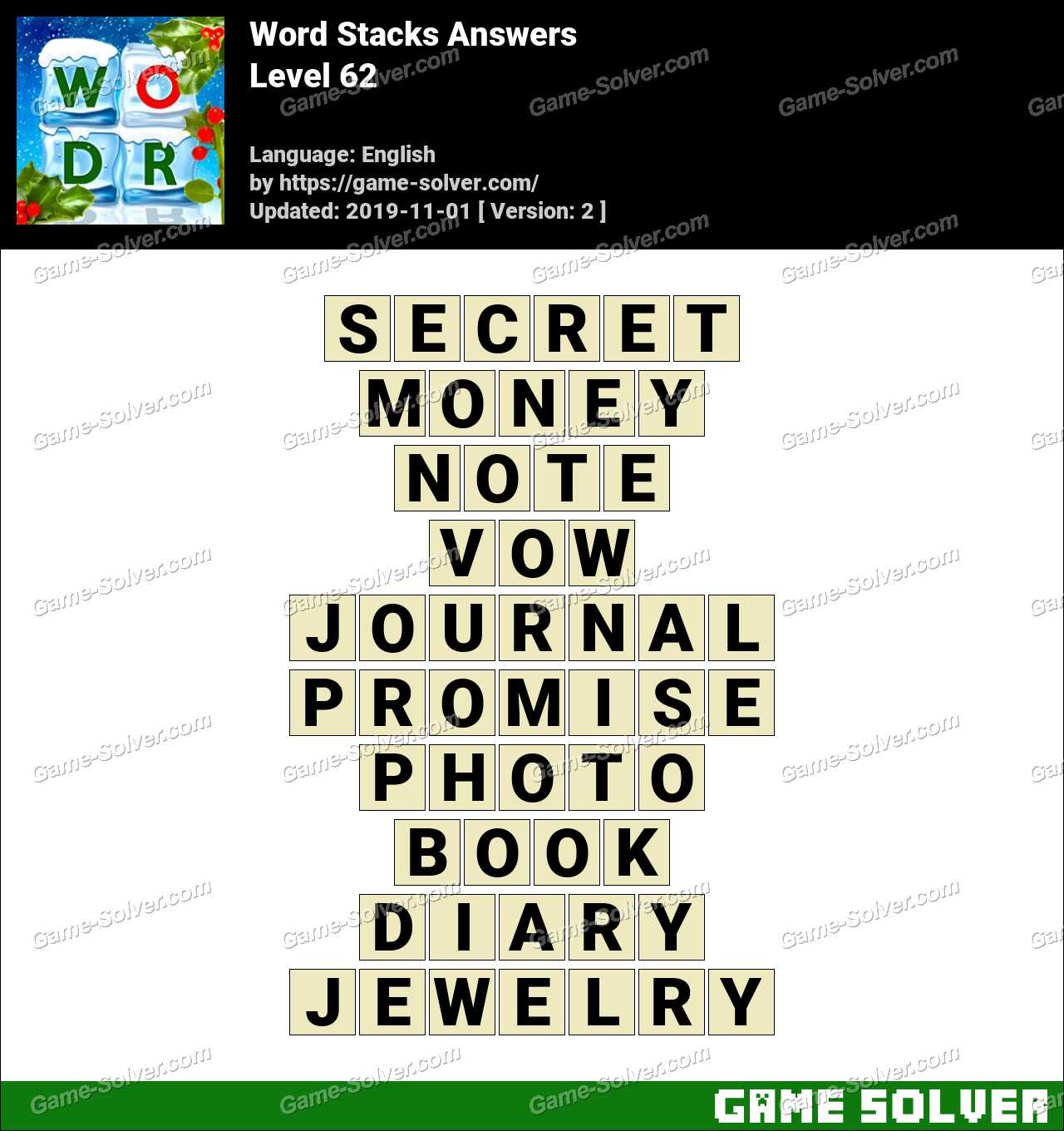 Word Stacks Level 62 Answers