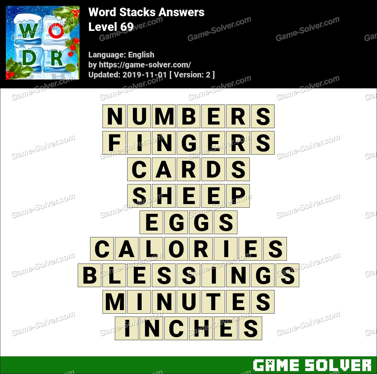 Word Stacks Level 69 Answers