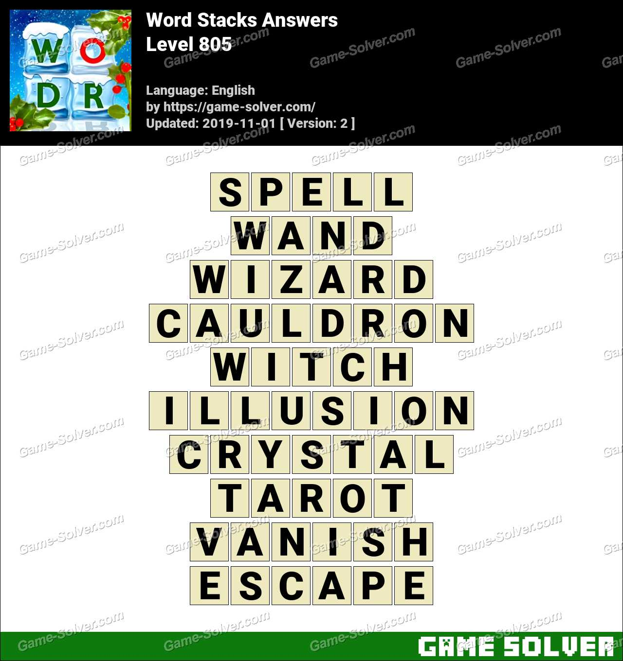 Word Stacks Level 805 Answers