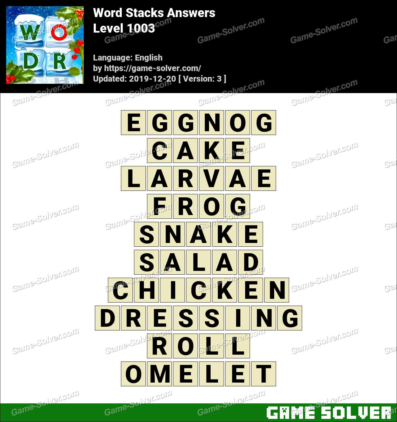 Word Stacks Level 1003 Answers