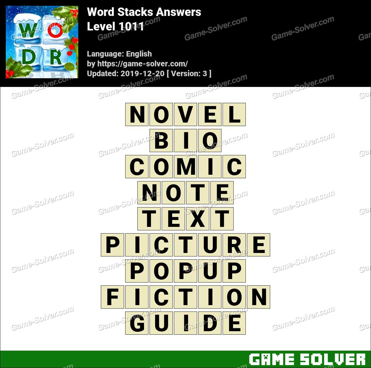 Word Stacks Level 1011 Answers