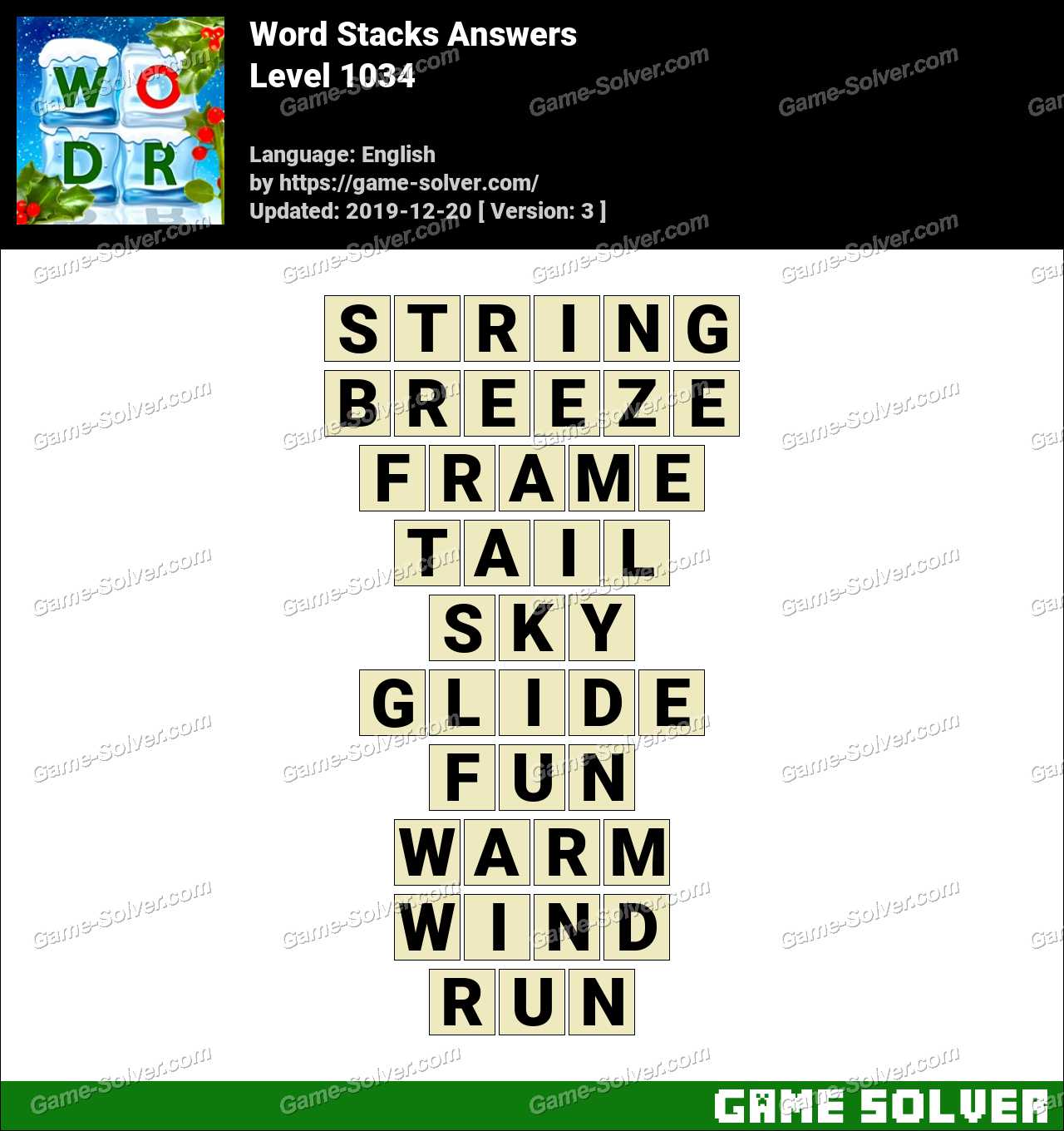 Word Stacks Level 1034 Answers
