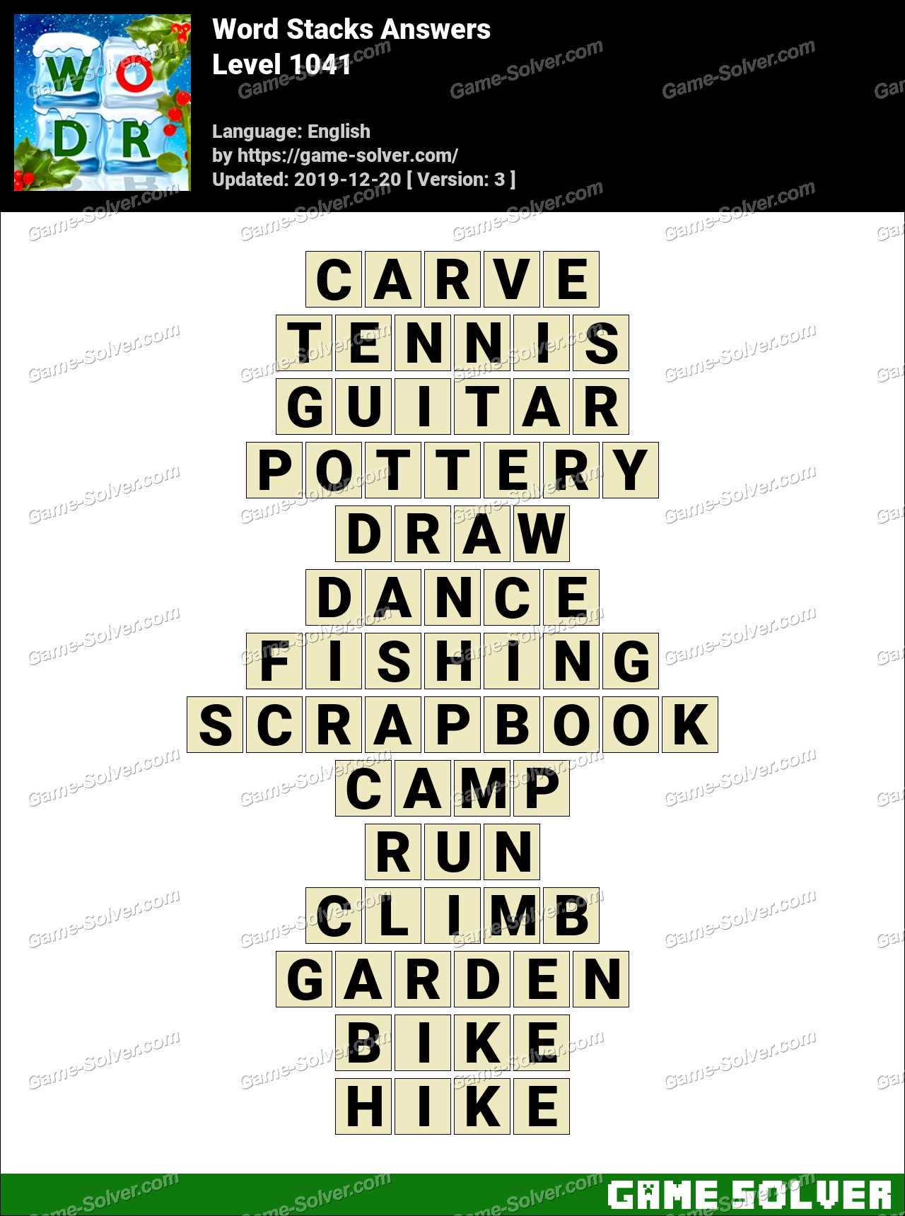 Word Stacks Level 1041 Answers