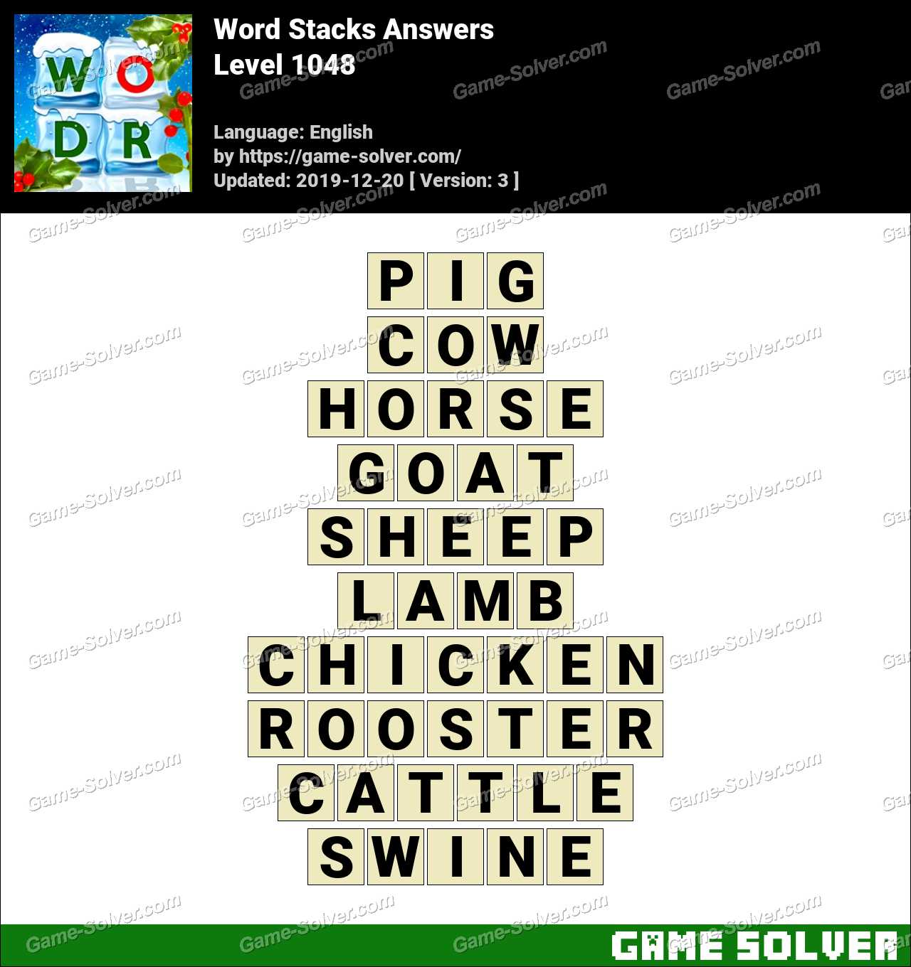 Word Stacks Level 1048 Answers