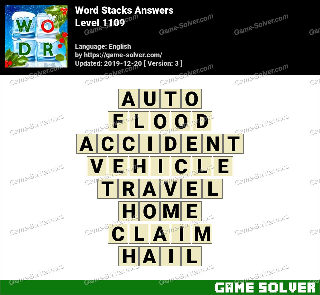 Word Stacks Level 1109 Answers