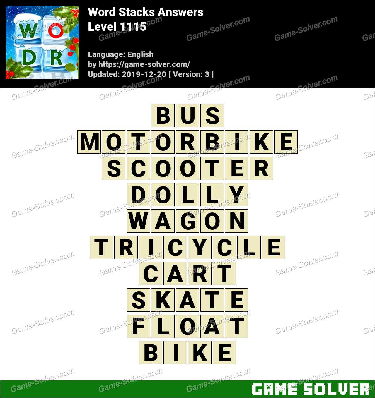 Word Stacks Level 1115 Answers