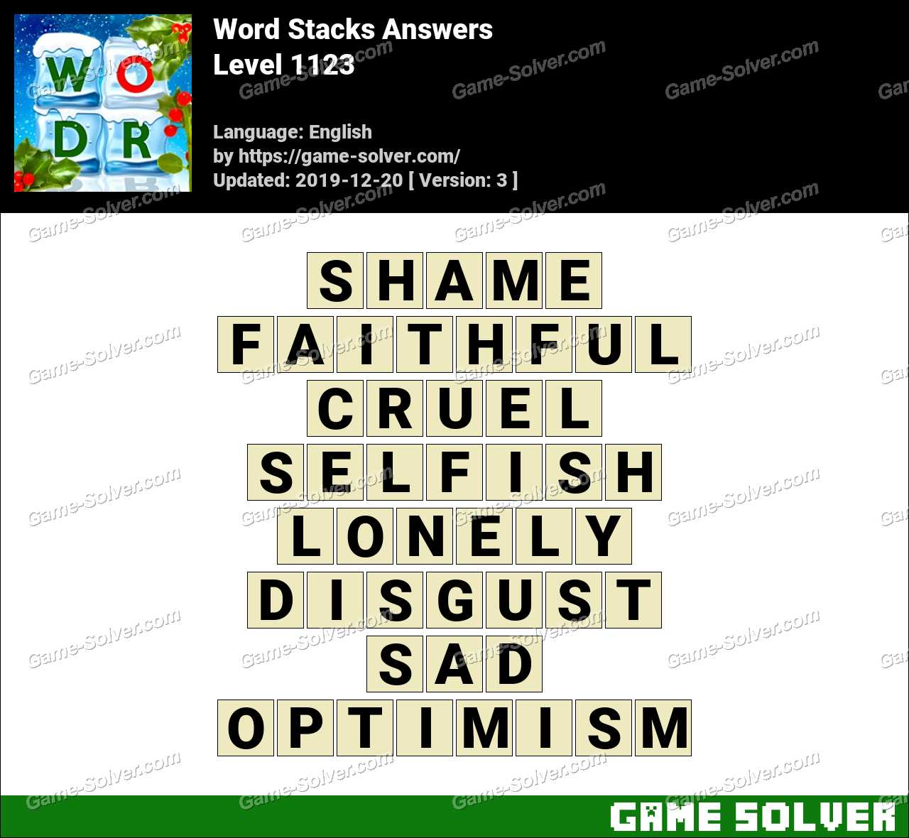 Word Stacks Level 1123 Answers