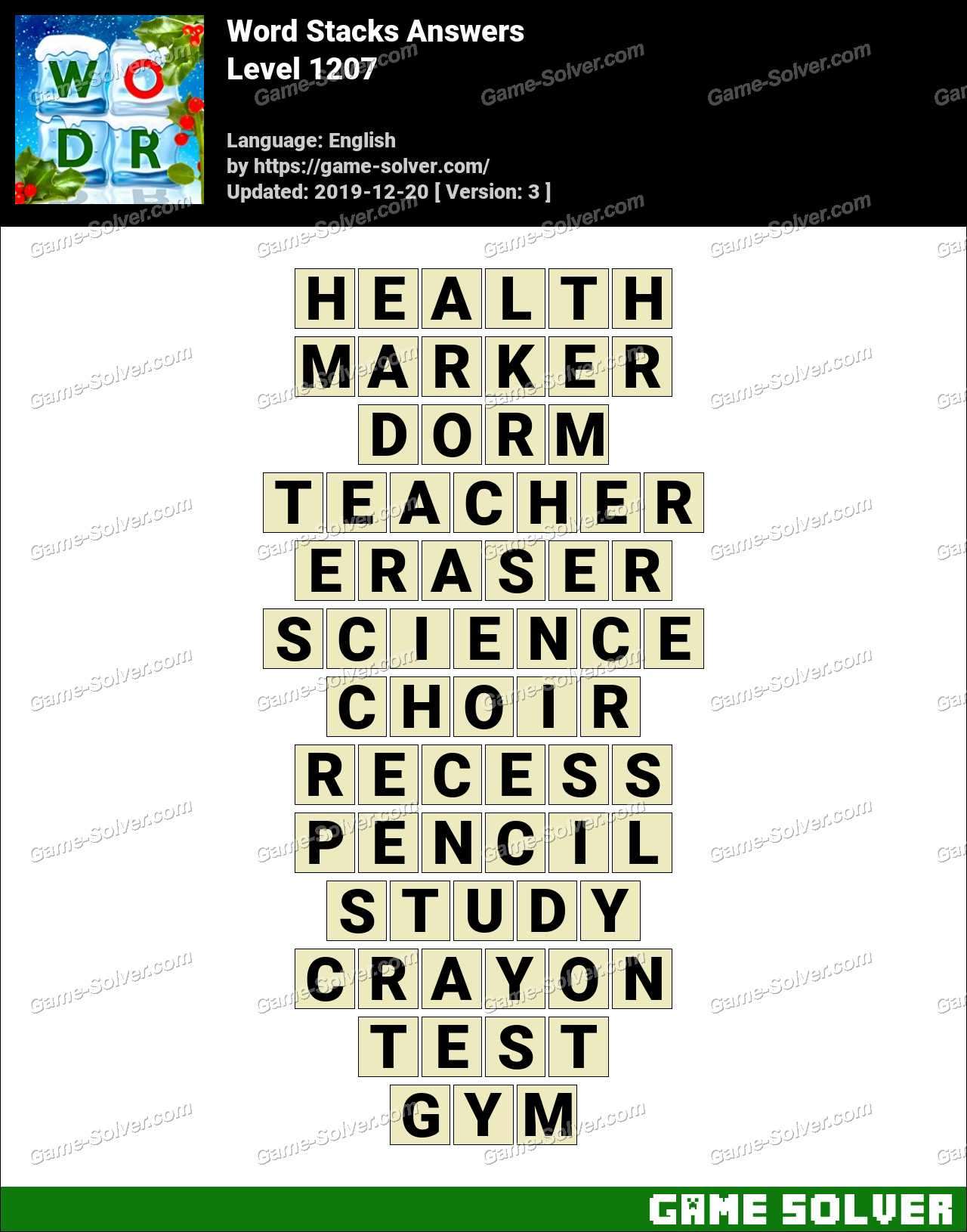 Word Stacks Level 1207 Answers