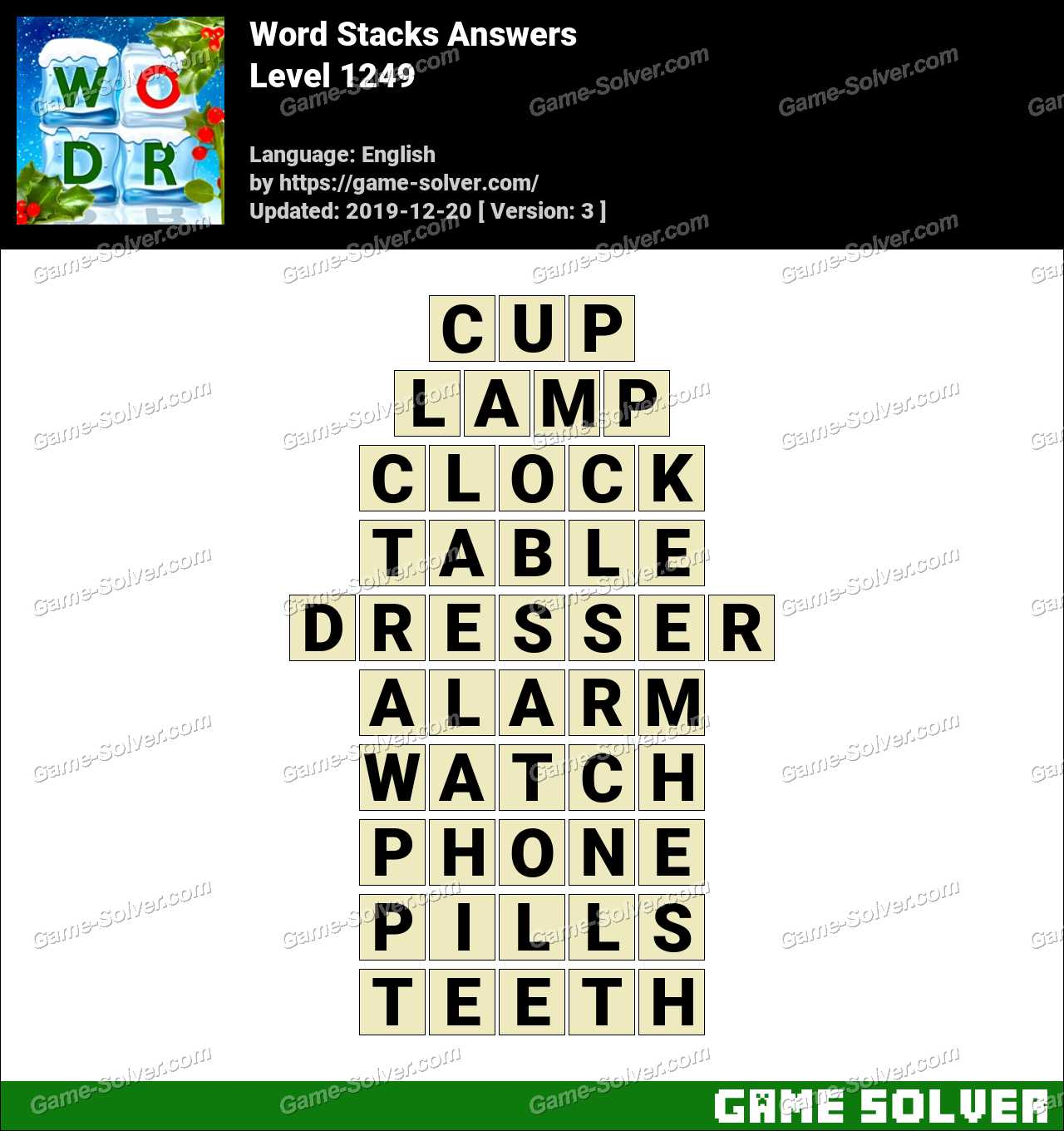 Word Stacks Level 1249 Answers