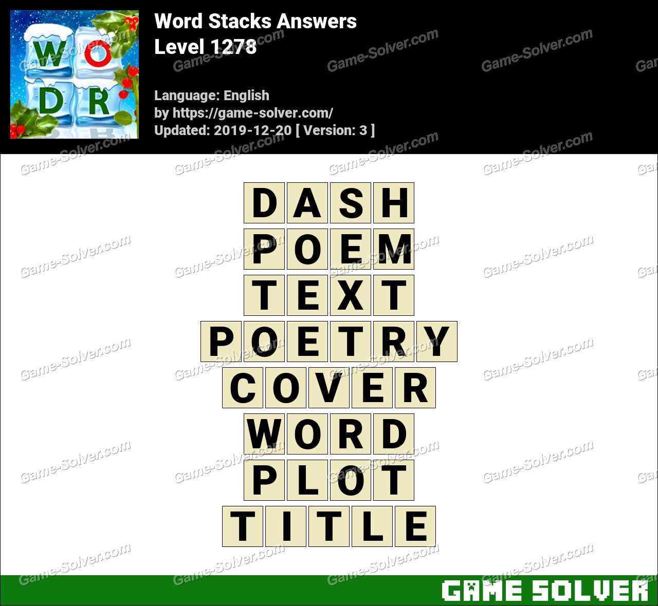 Word Stacks Level 1278 Answers