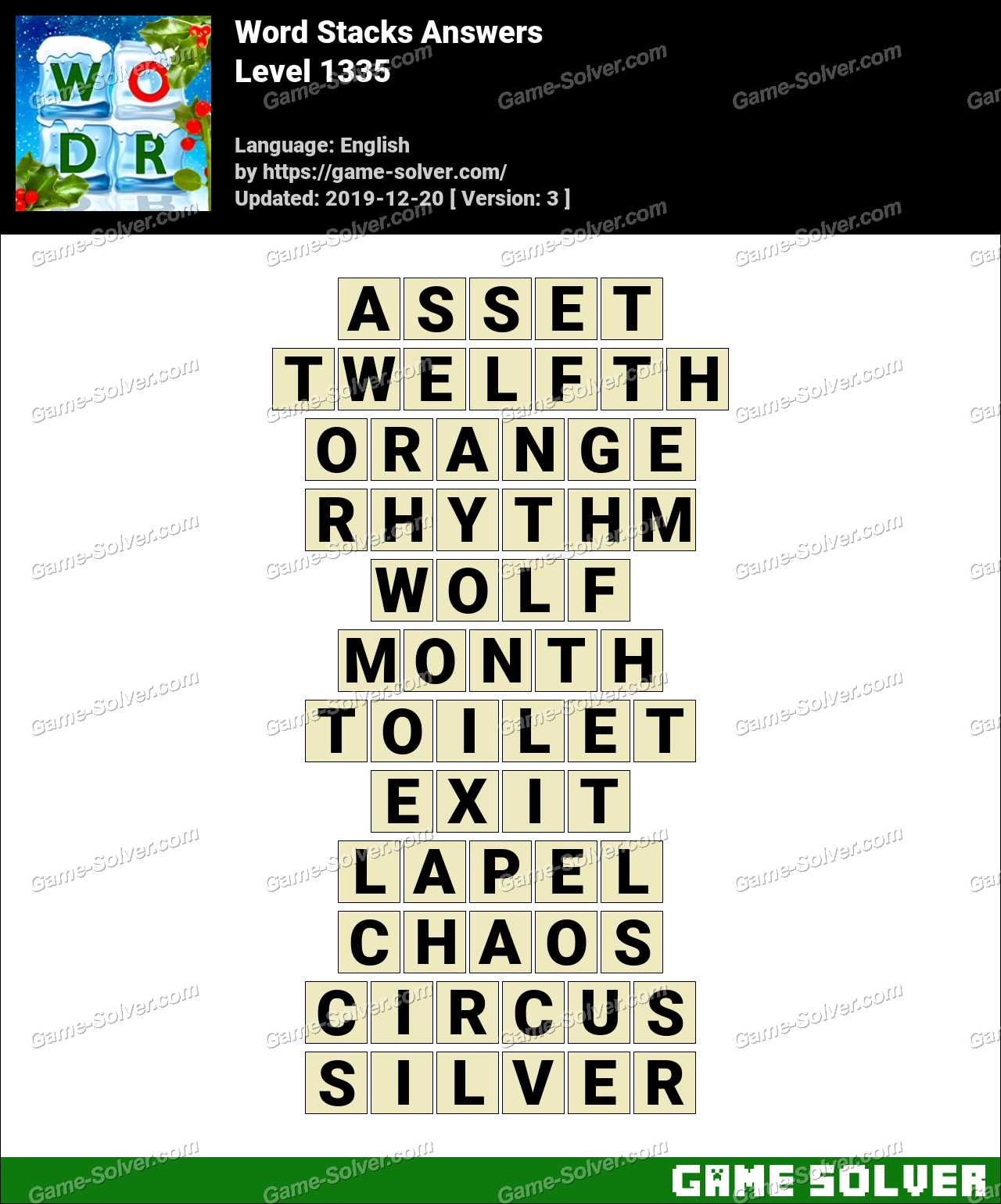 Word Stacks Level 1335 Answers
