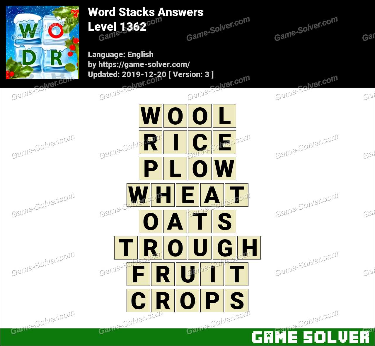Word Stacks Level 1362 Answers