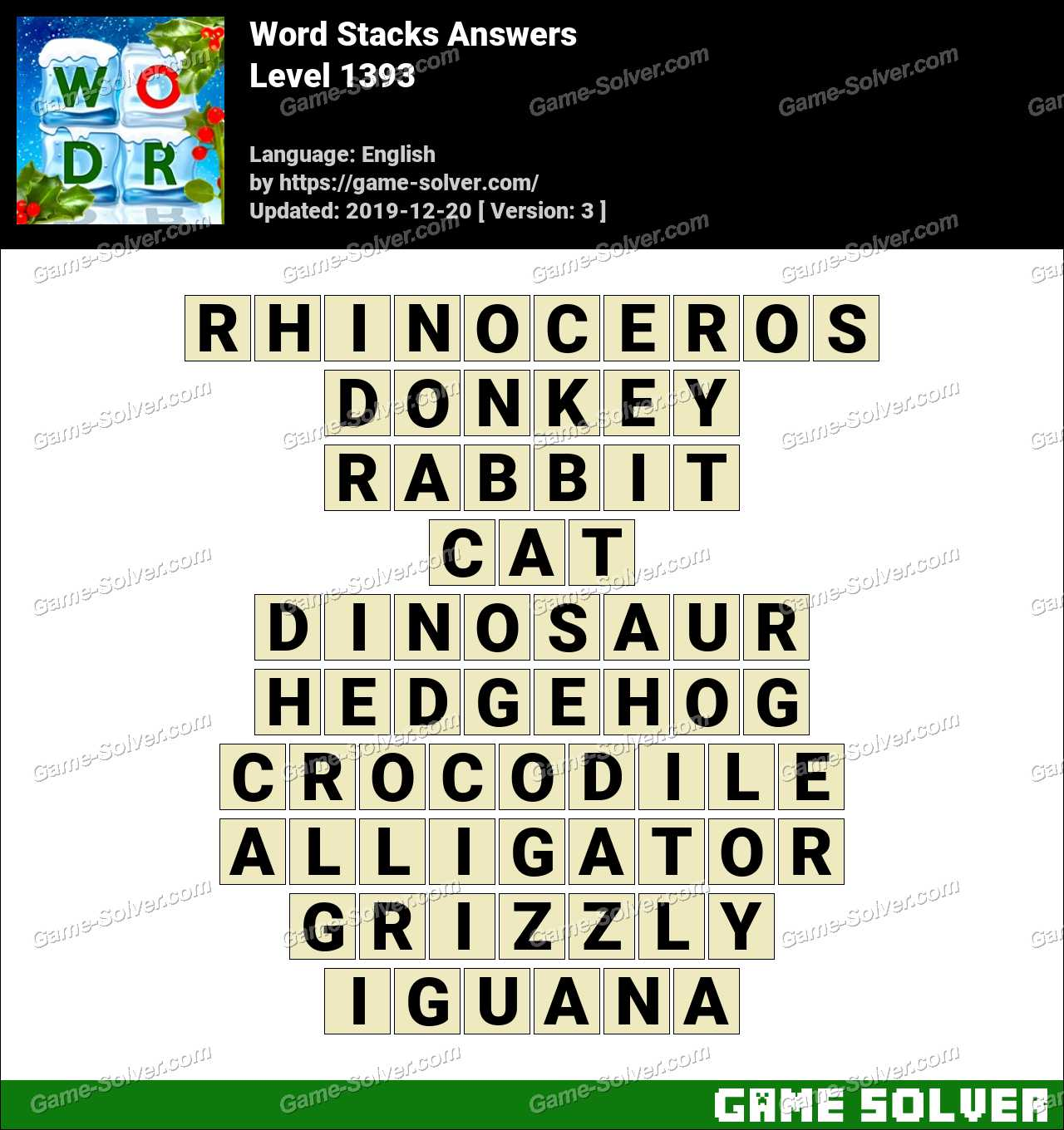 Word Stacks Level 1393 Answers