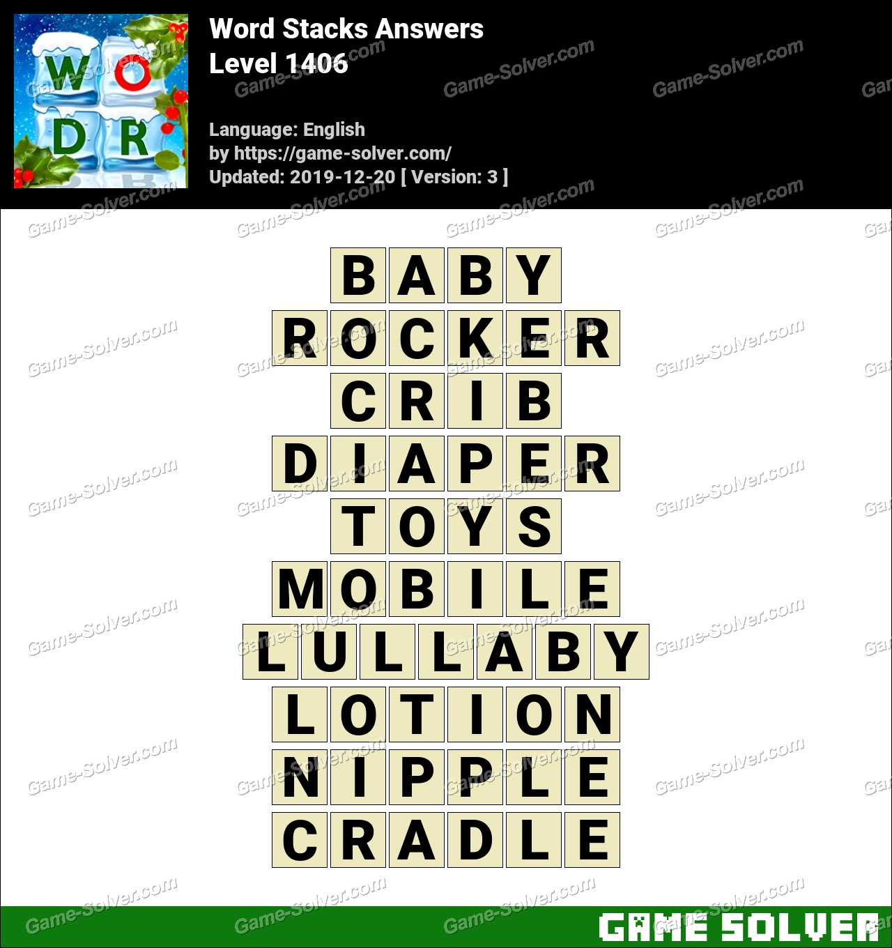 Word Stacks Level 1406 Answers