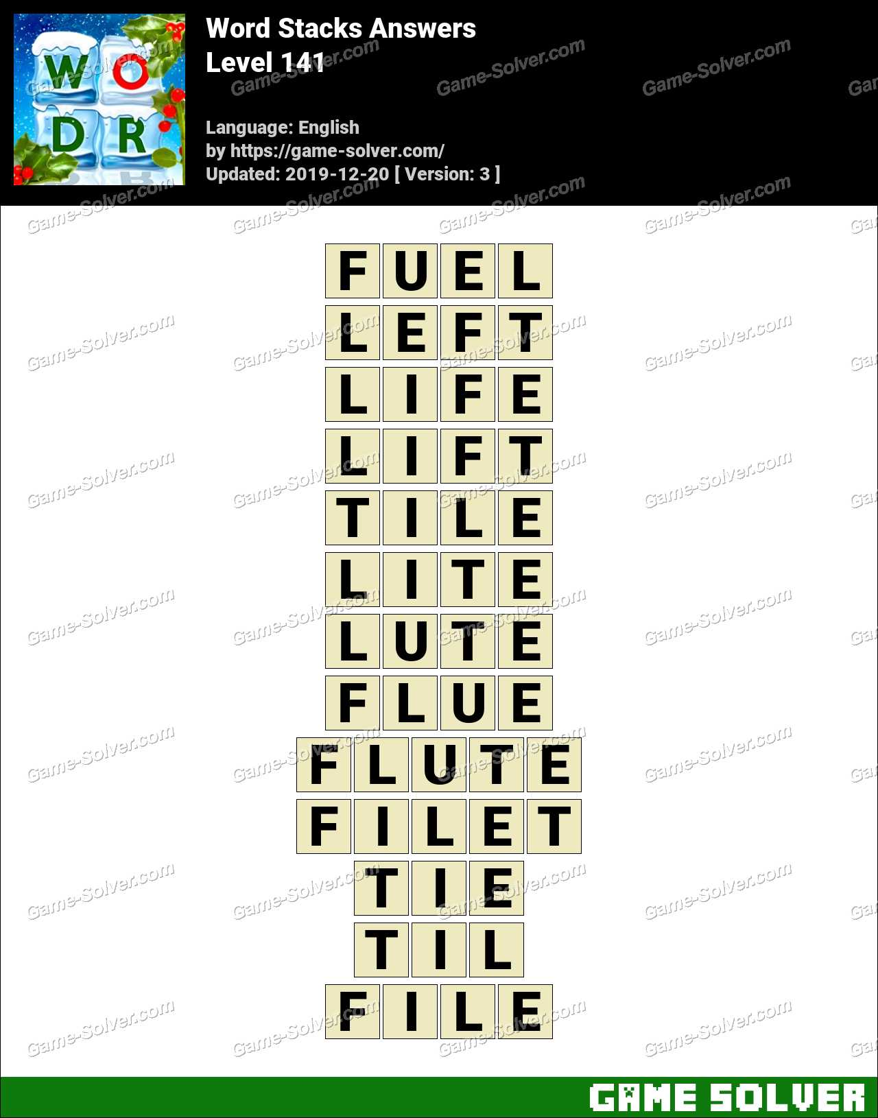 Word Stacks Level 141 Answers