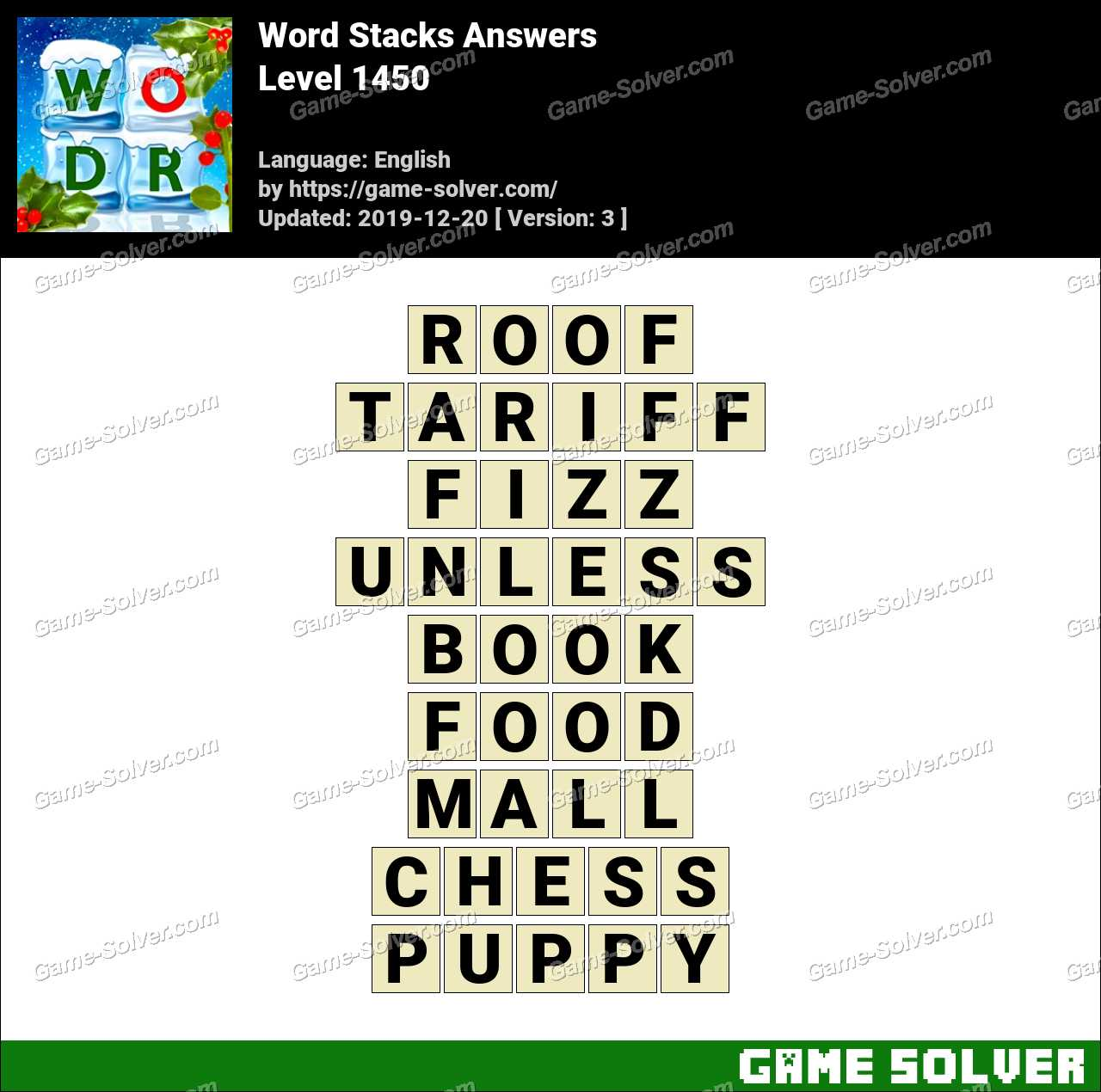 Word Stacks Level 1450 Answers