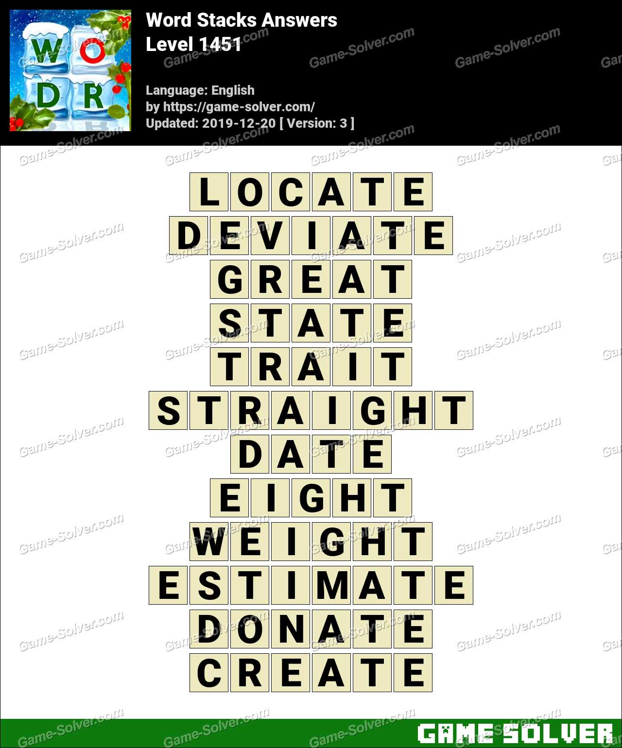 Word Stacks Level 1451 Answers