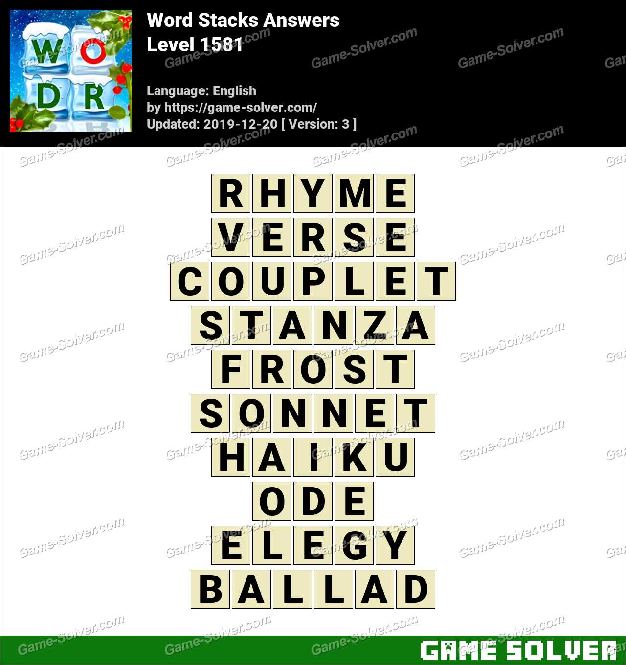 Word Stacks Level 1581 Answers