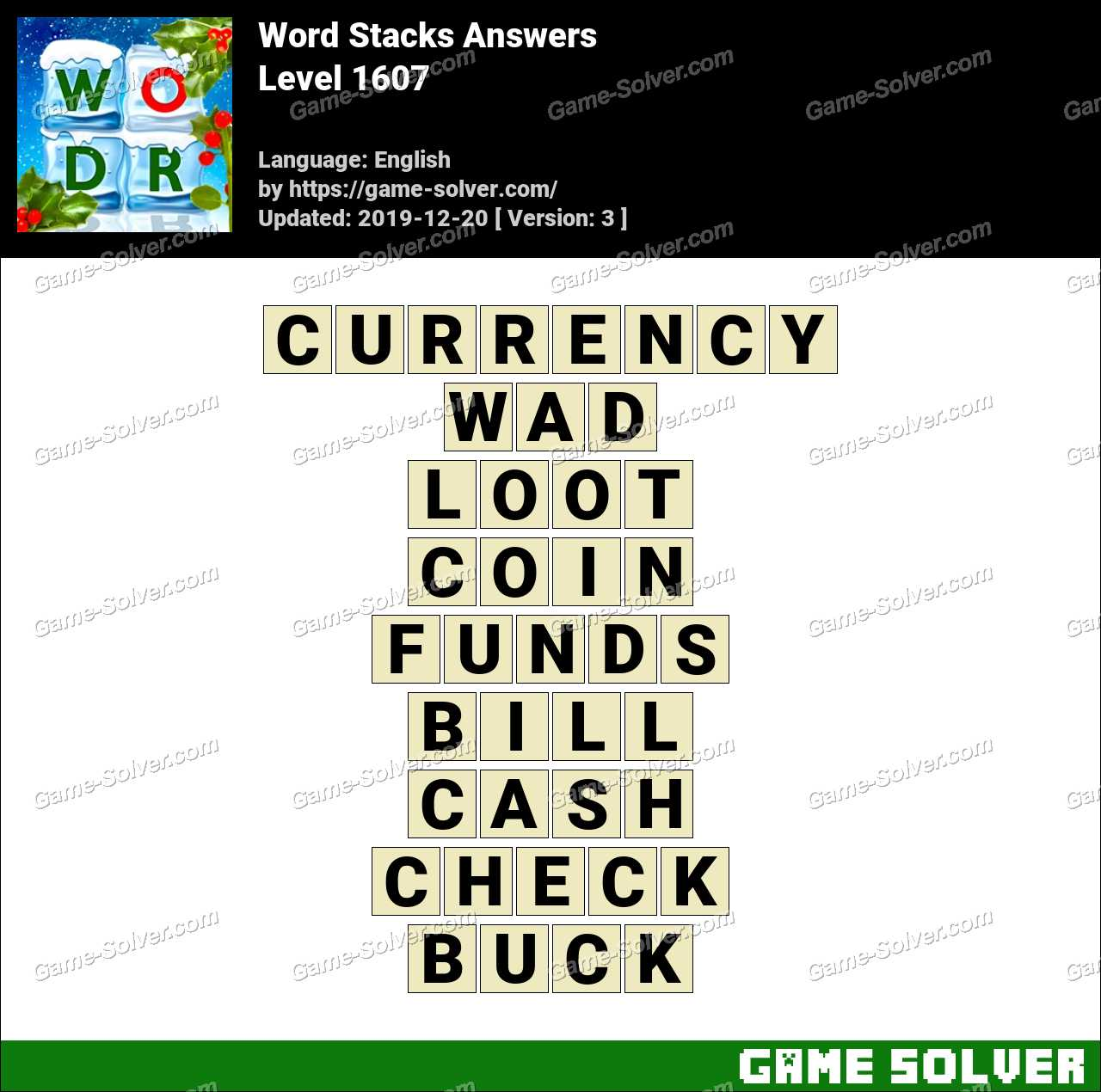 Word Stacks Level 1607 Answers