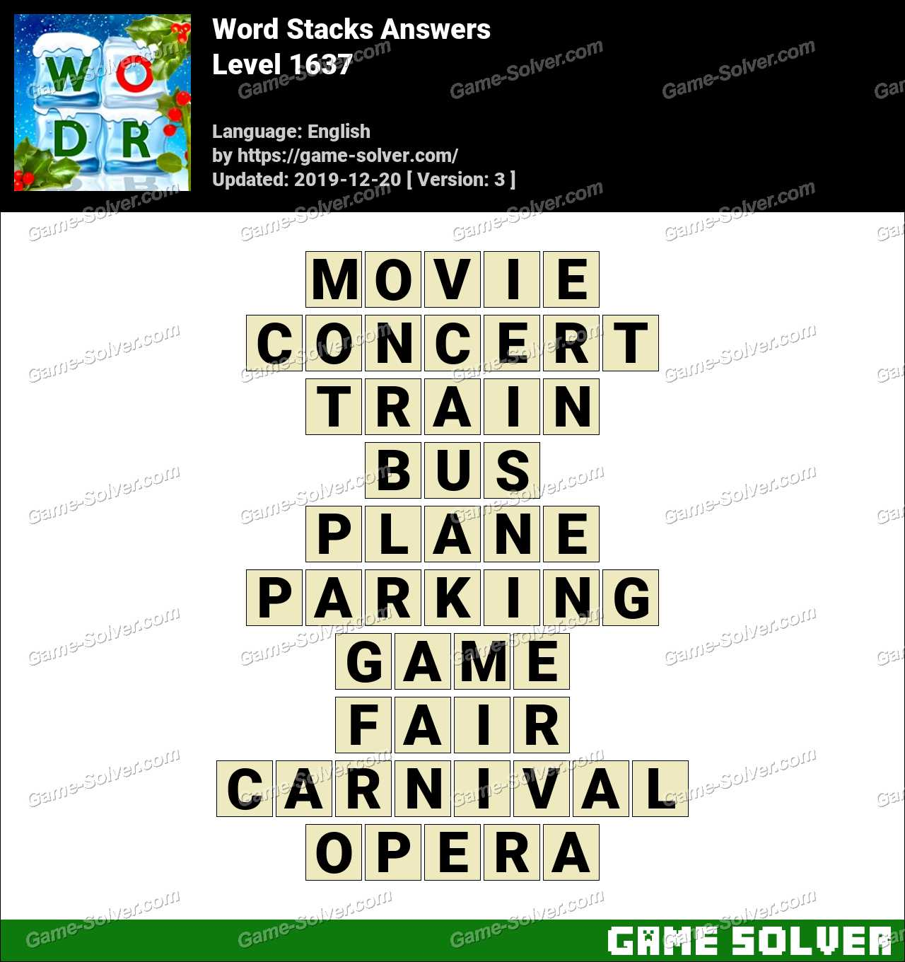 Word Stacks Level 1637 Answers