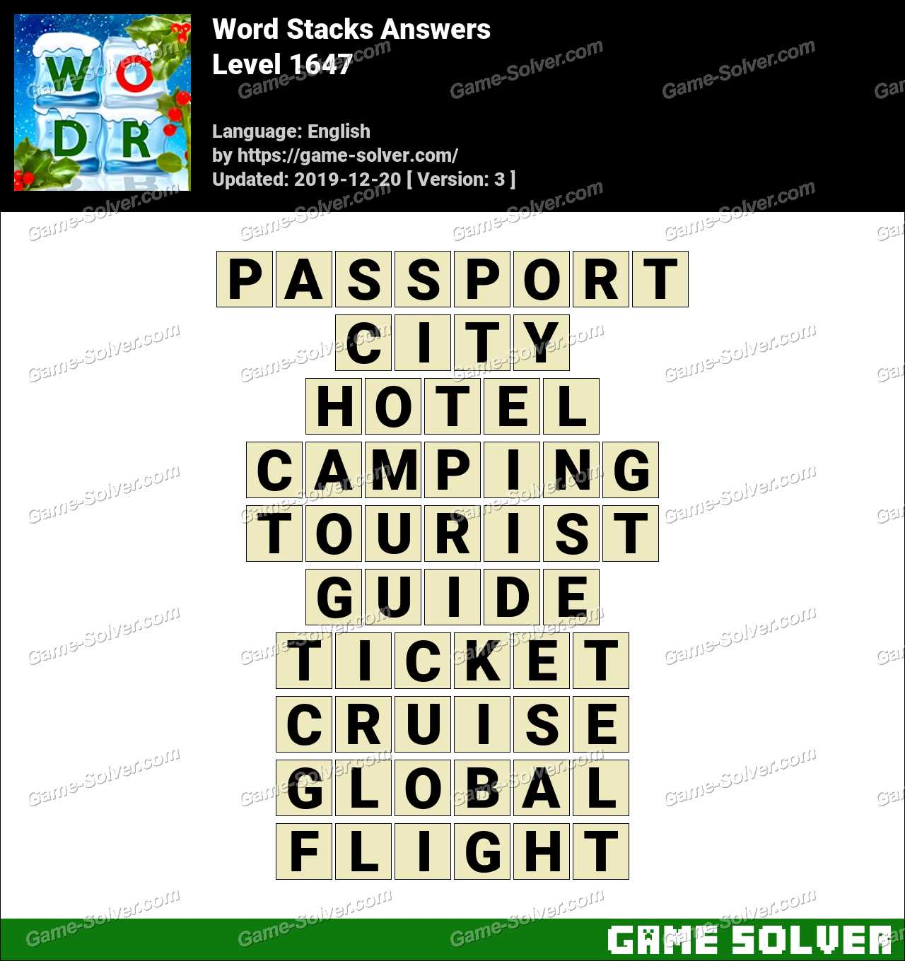 Word Stacks Level 1647 Answers