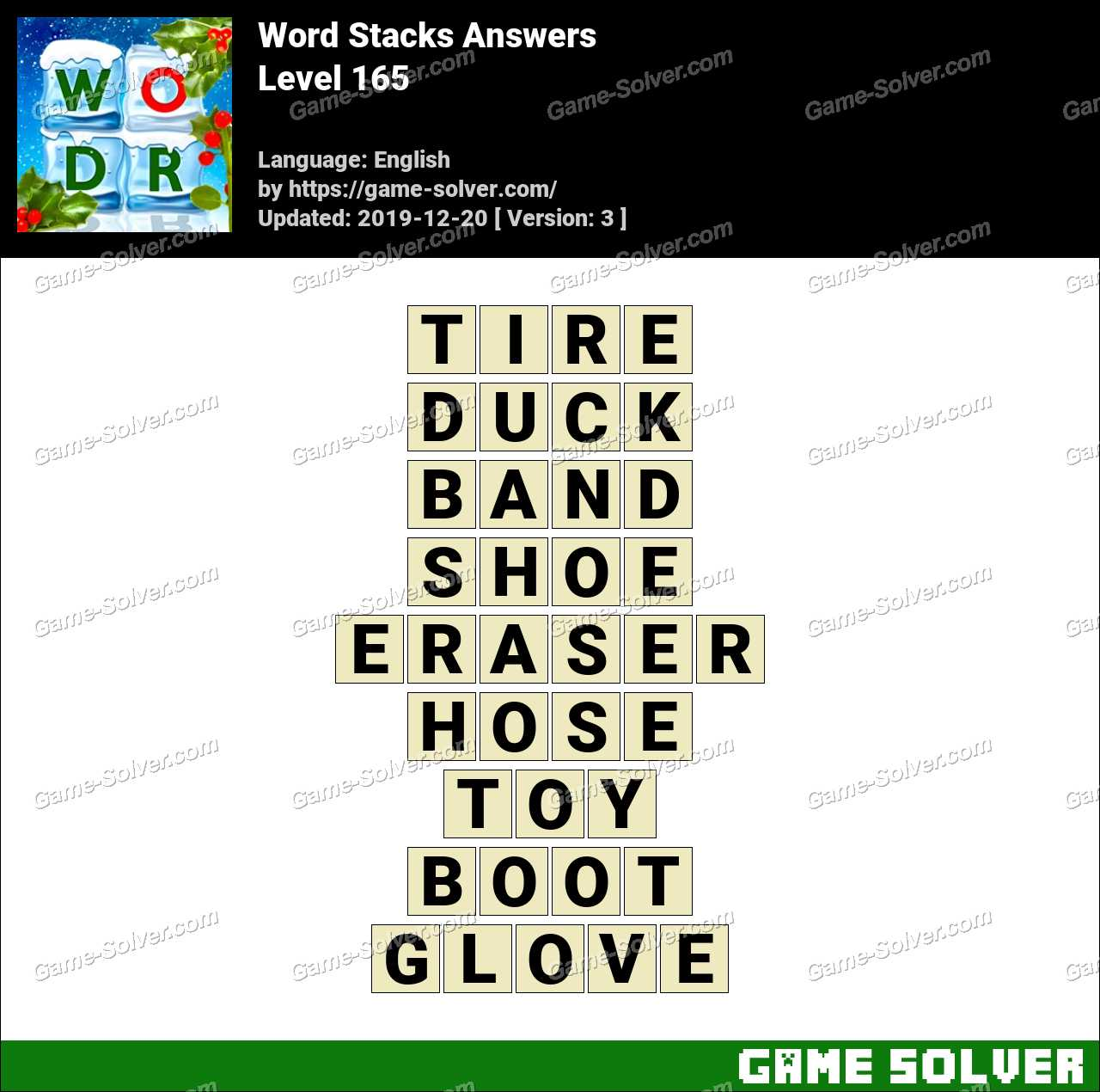 Word Stacks Level 165 Answers