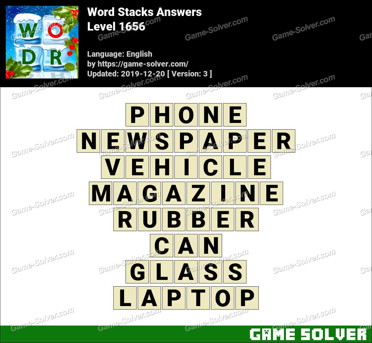 Word Stacks Level 1656 Answers