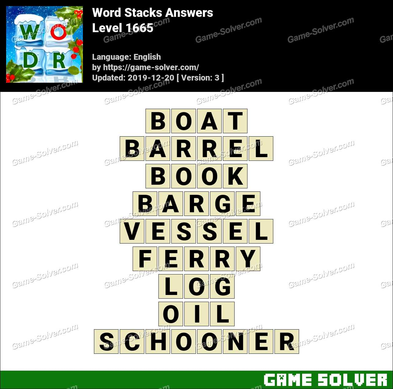 Word Stacks Level 1665 Answers