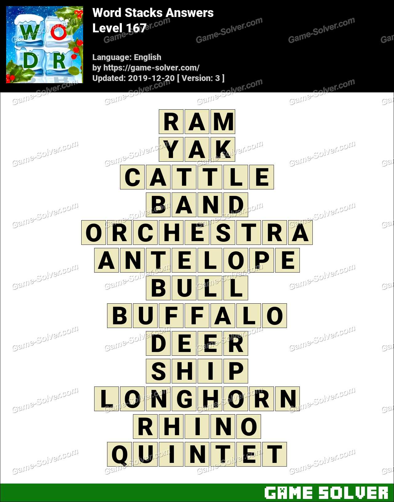 Word Stacks Level 167 Answers