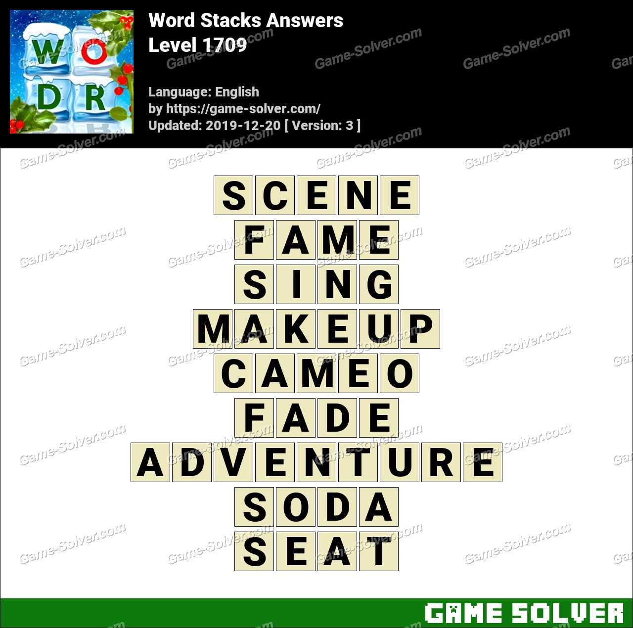 Word Stacks Level 1709 Answers