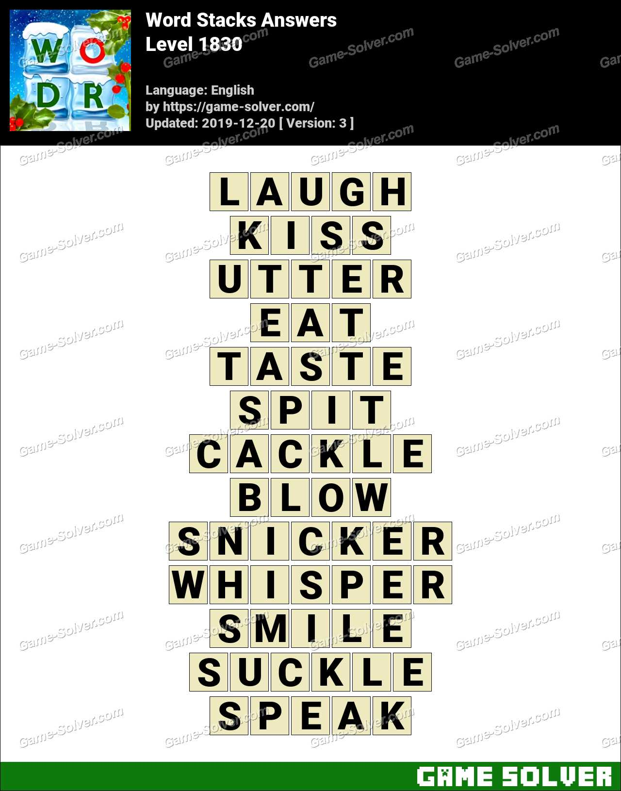 Word Stacks Level 1830 Answers