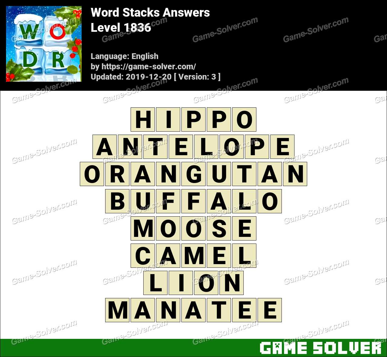 Word Stacks Level 1836 Answers