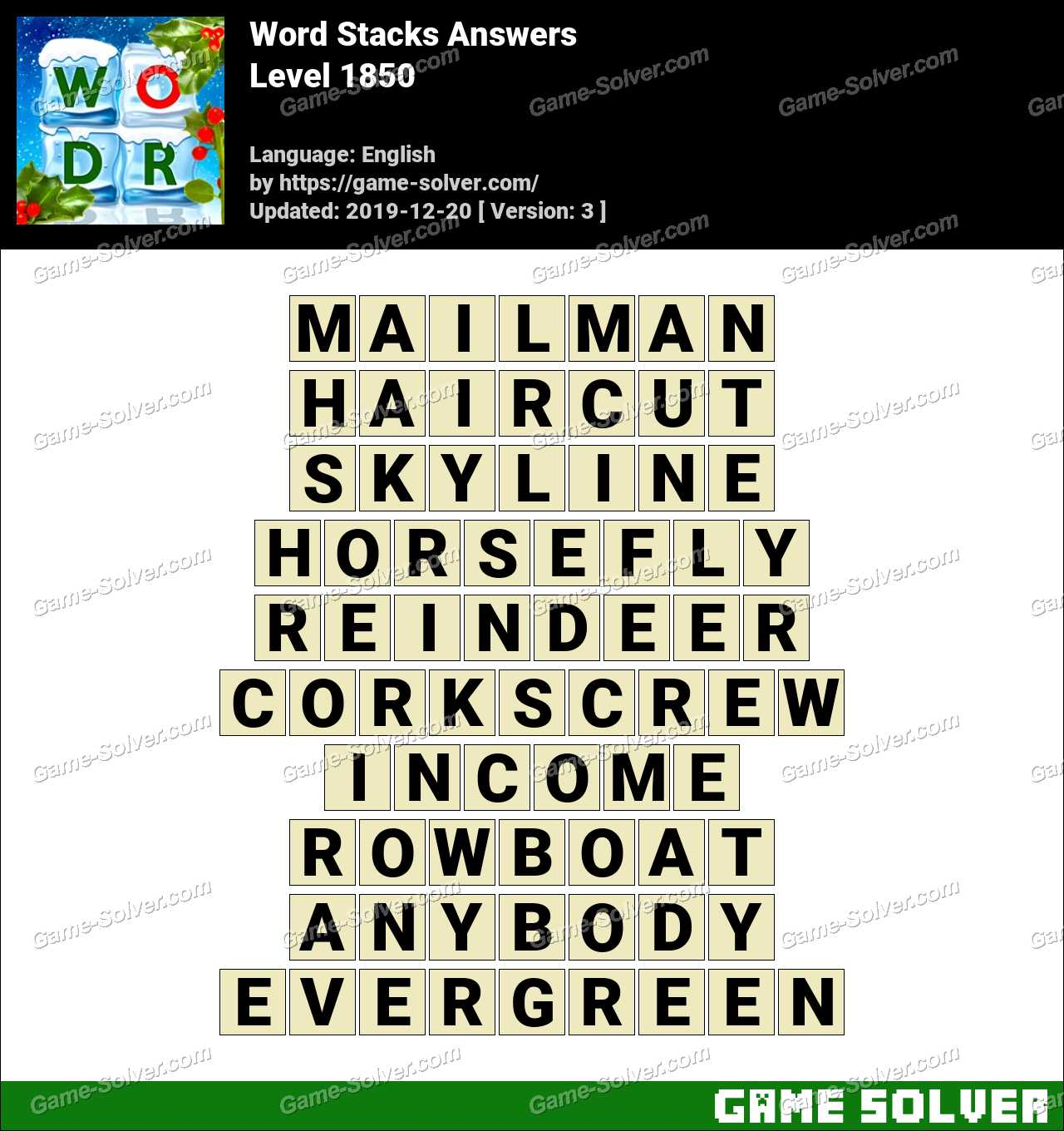 Word Stacks Level 1850 Answers