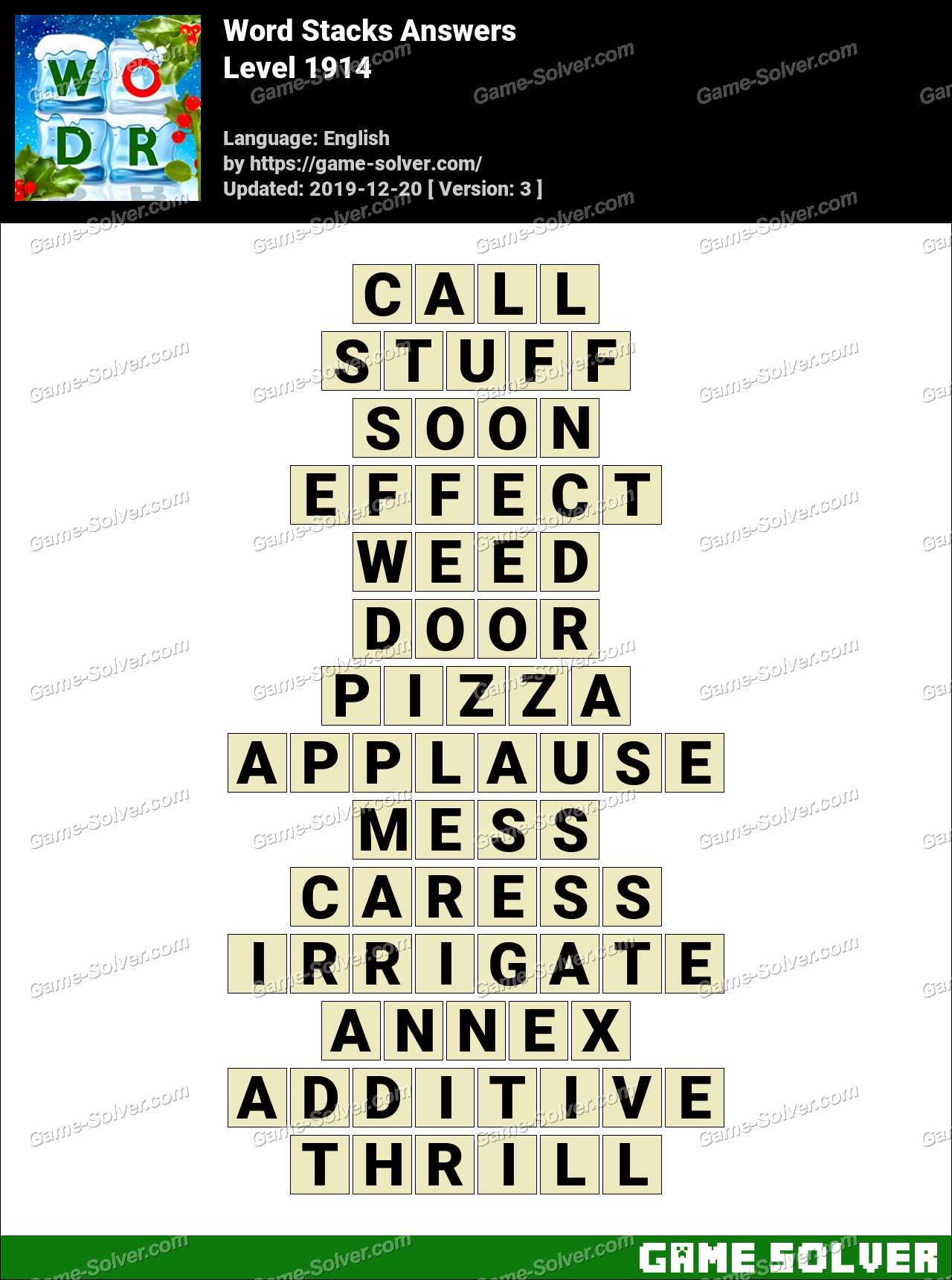 Word Stacks Level 1914 Answers