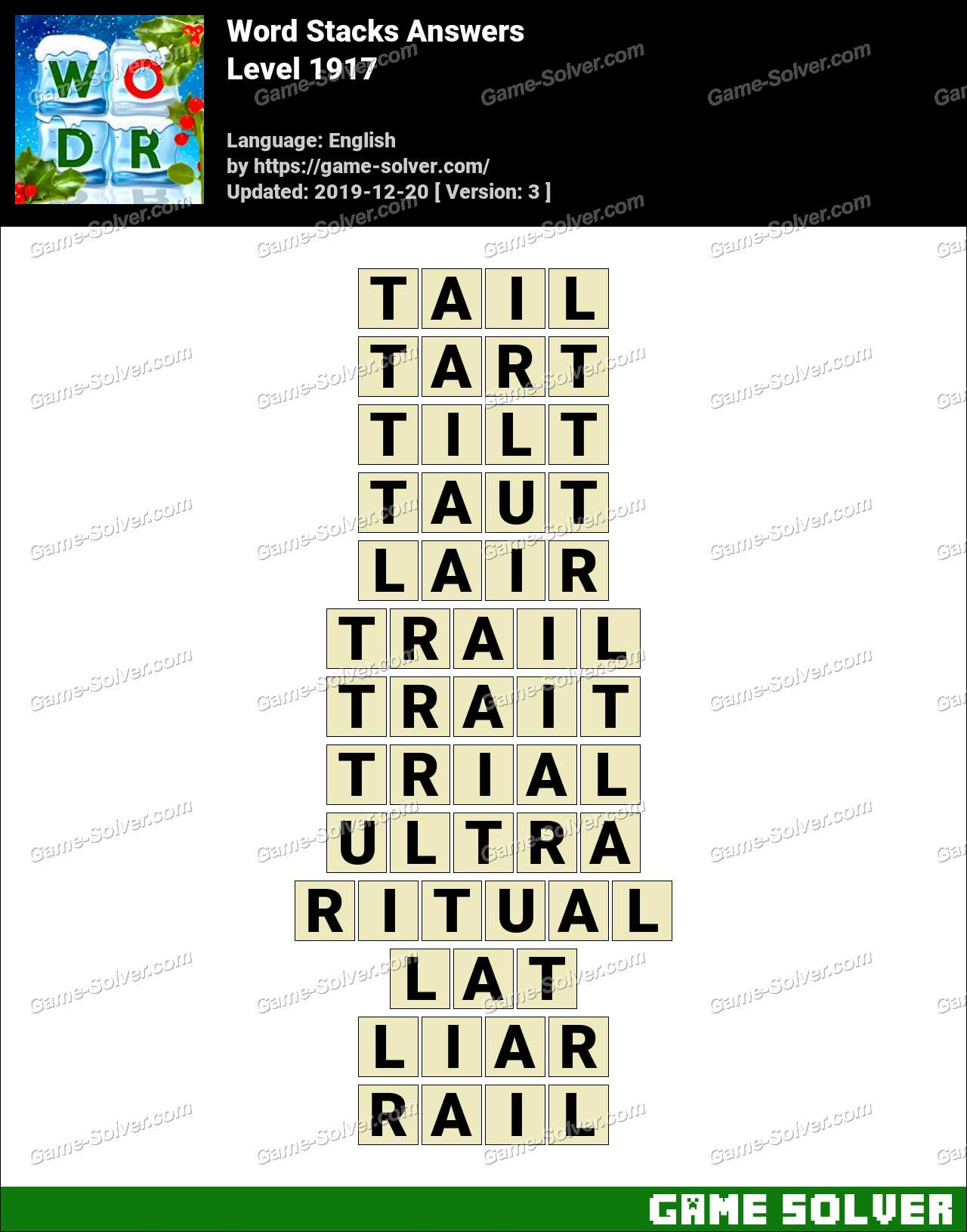 Word Stacks Level 1917 Answers